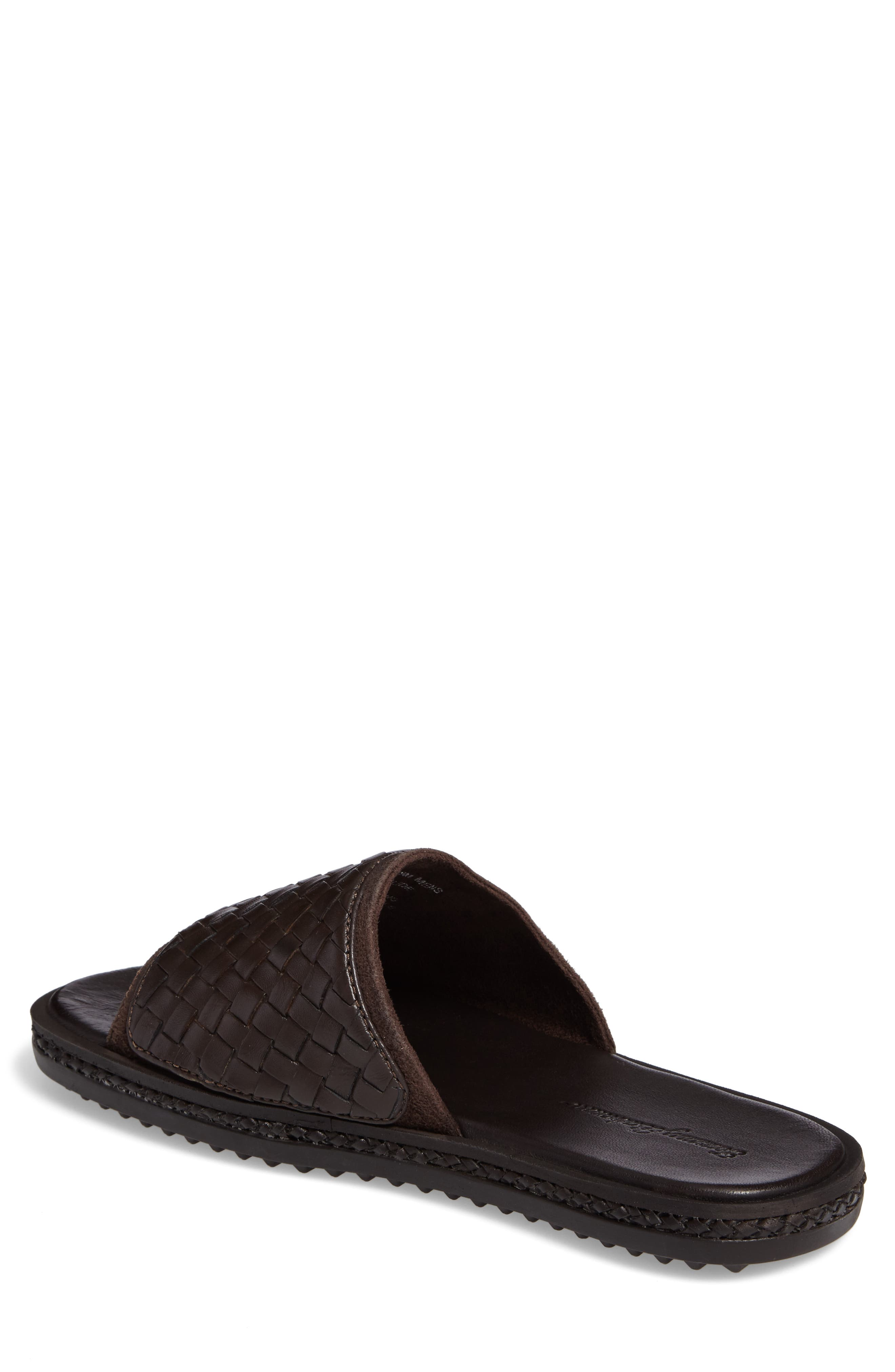 Shore Crest Woven Slide Sandal,                             Alternate thumbnail 2, color,                             Dark Brown