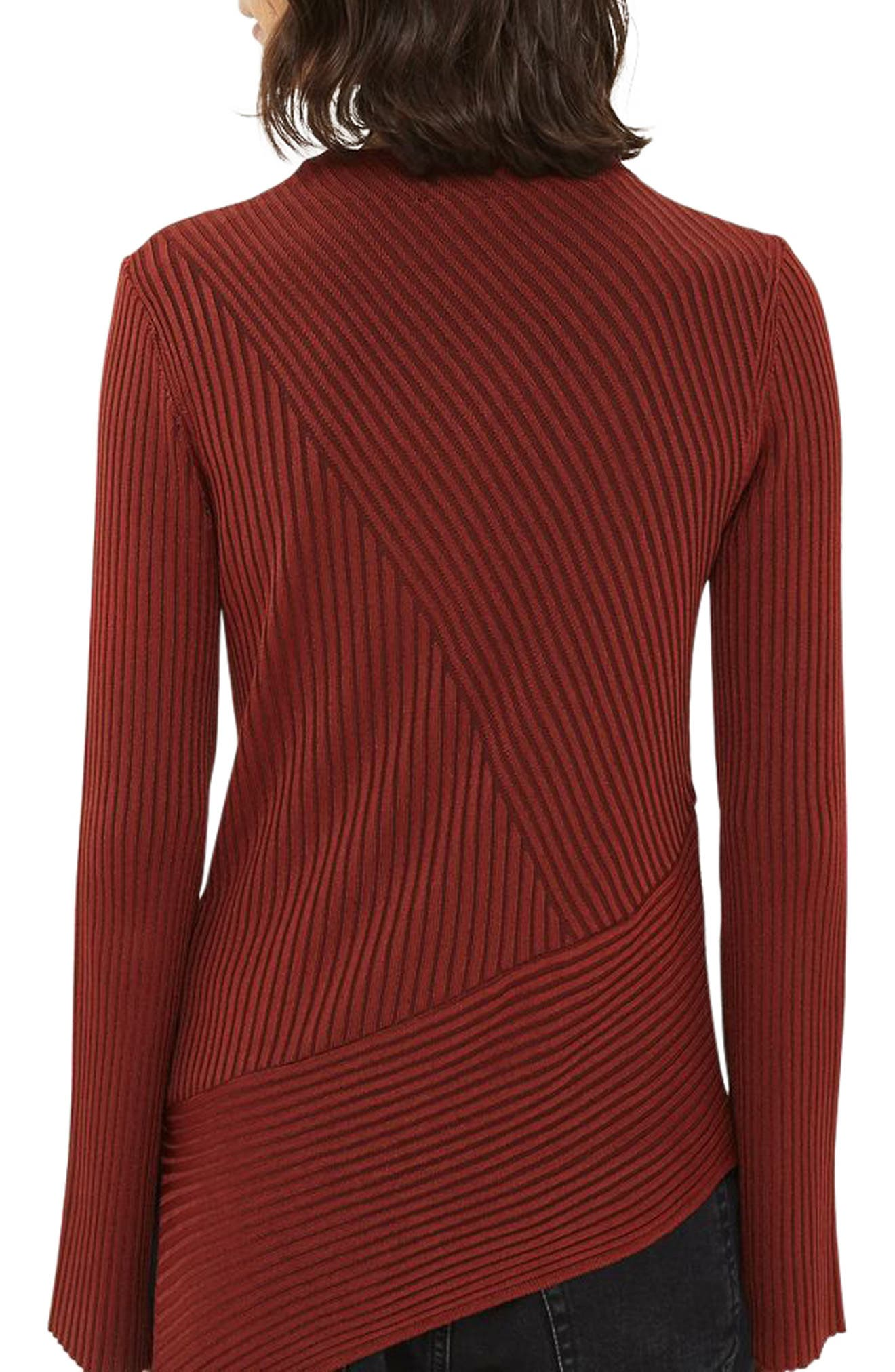 Asymmetrical Ribbed Sweater,                             Alternate thumbnail 3, color,                             Rust