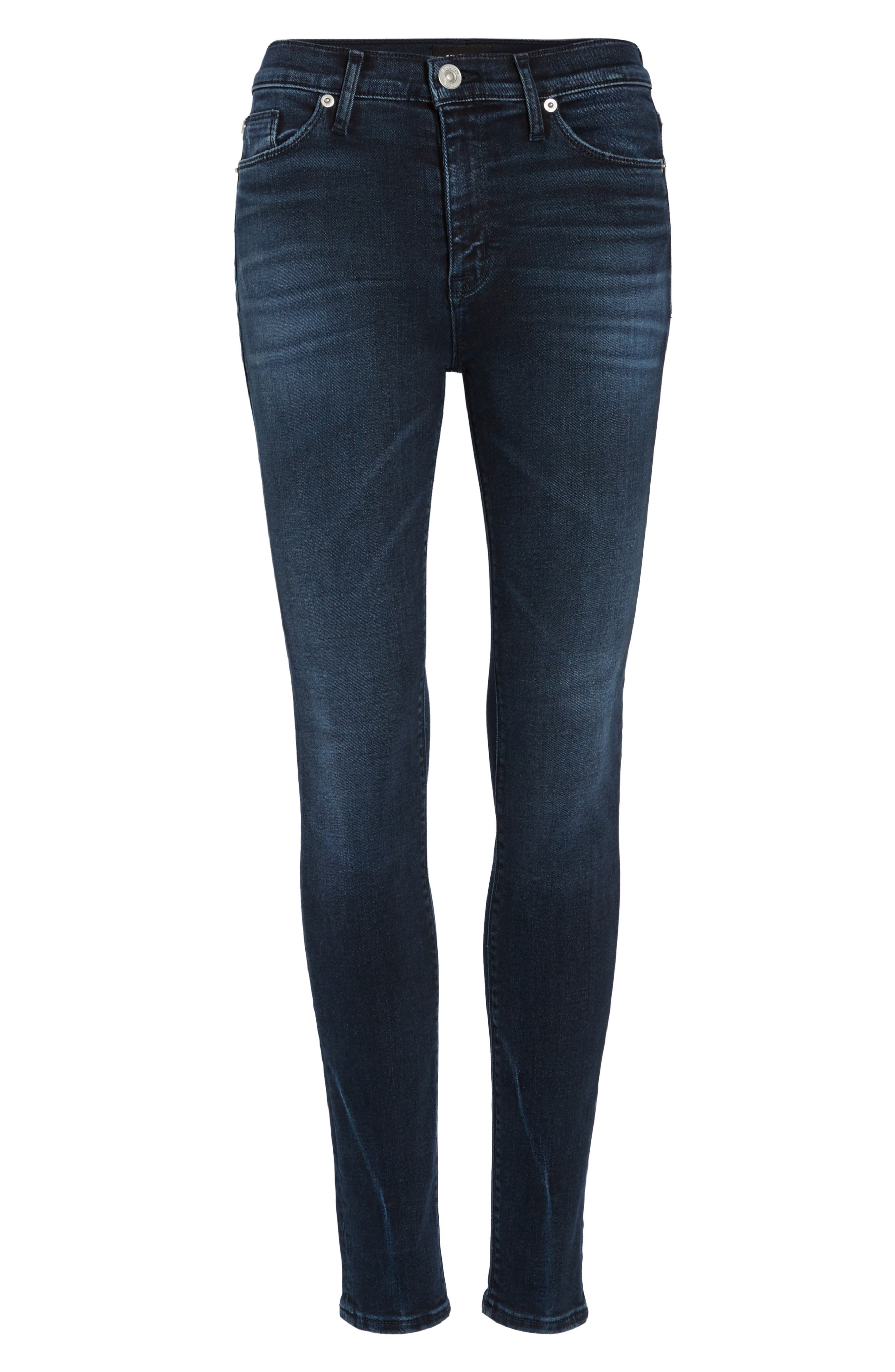 Hudson Barbara High Waist Super Skinny Jeans,                             Alternate thumbnail 6, color,                             Night Ryder