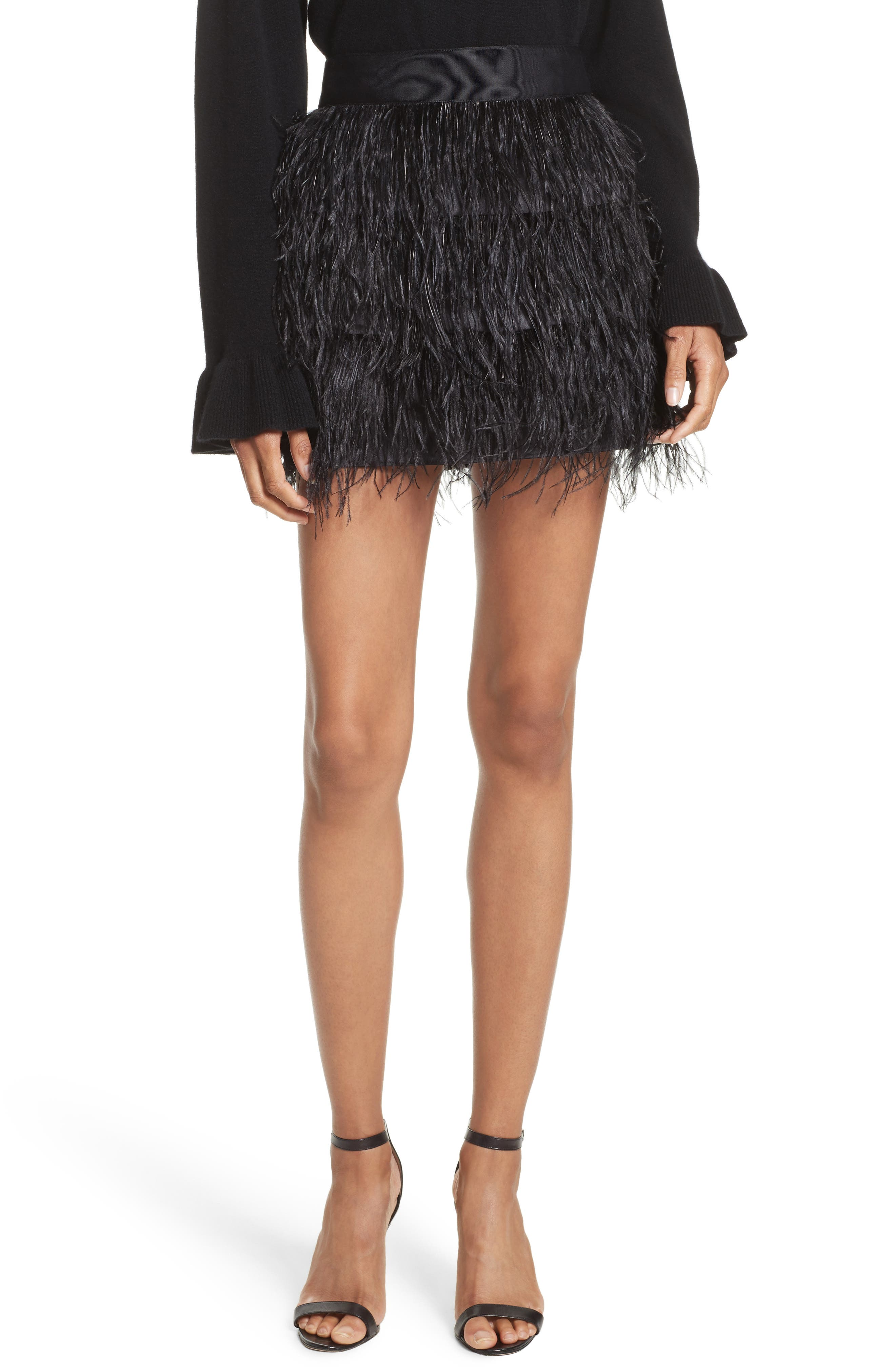 Feather Miniskirt,                         Main,                         color, Black
