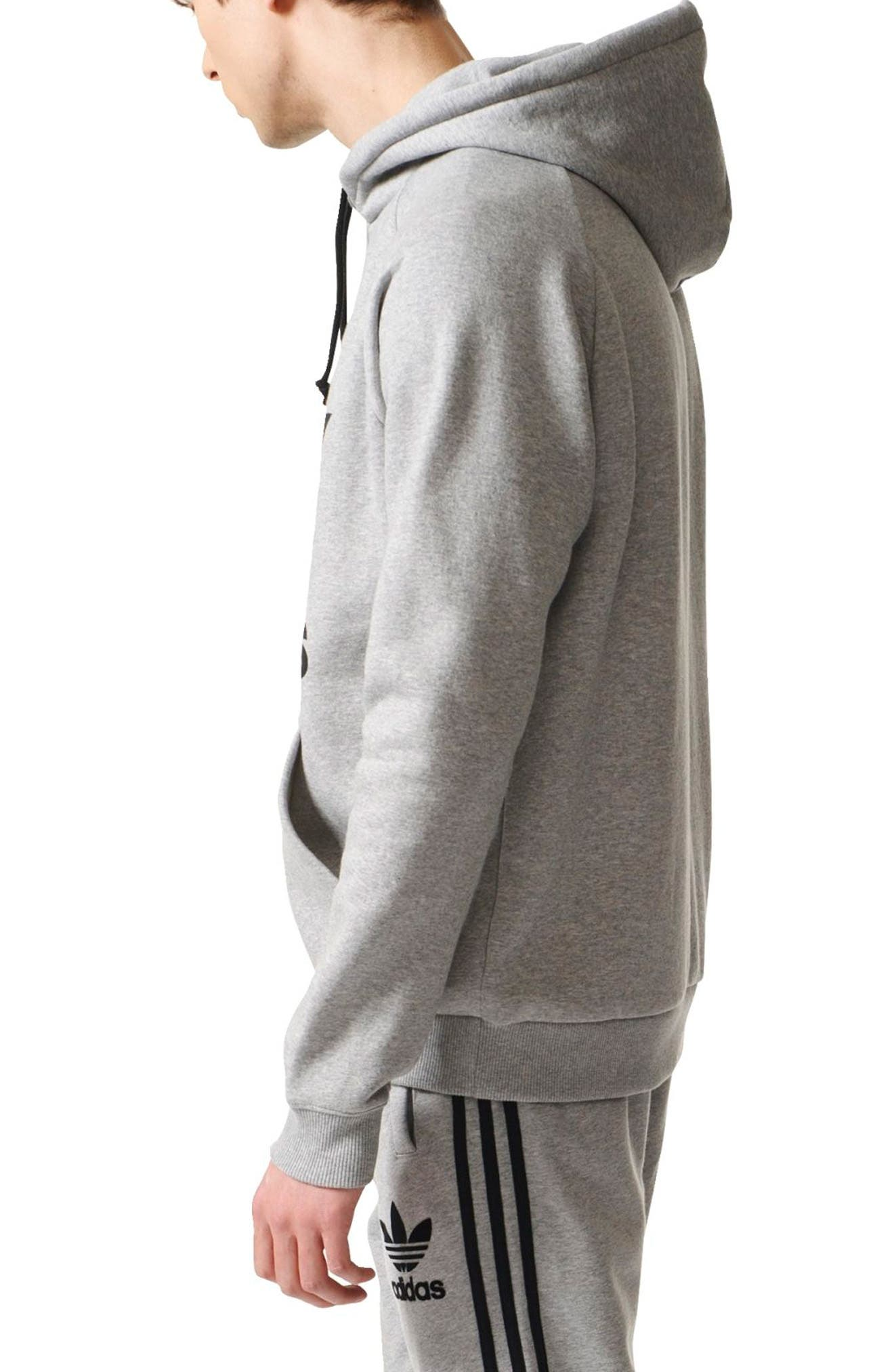Trefoil Graphic Hoodie,                             Alternate thumbnail 3, color,                             Medium Grey Heather
