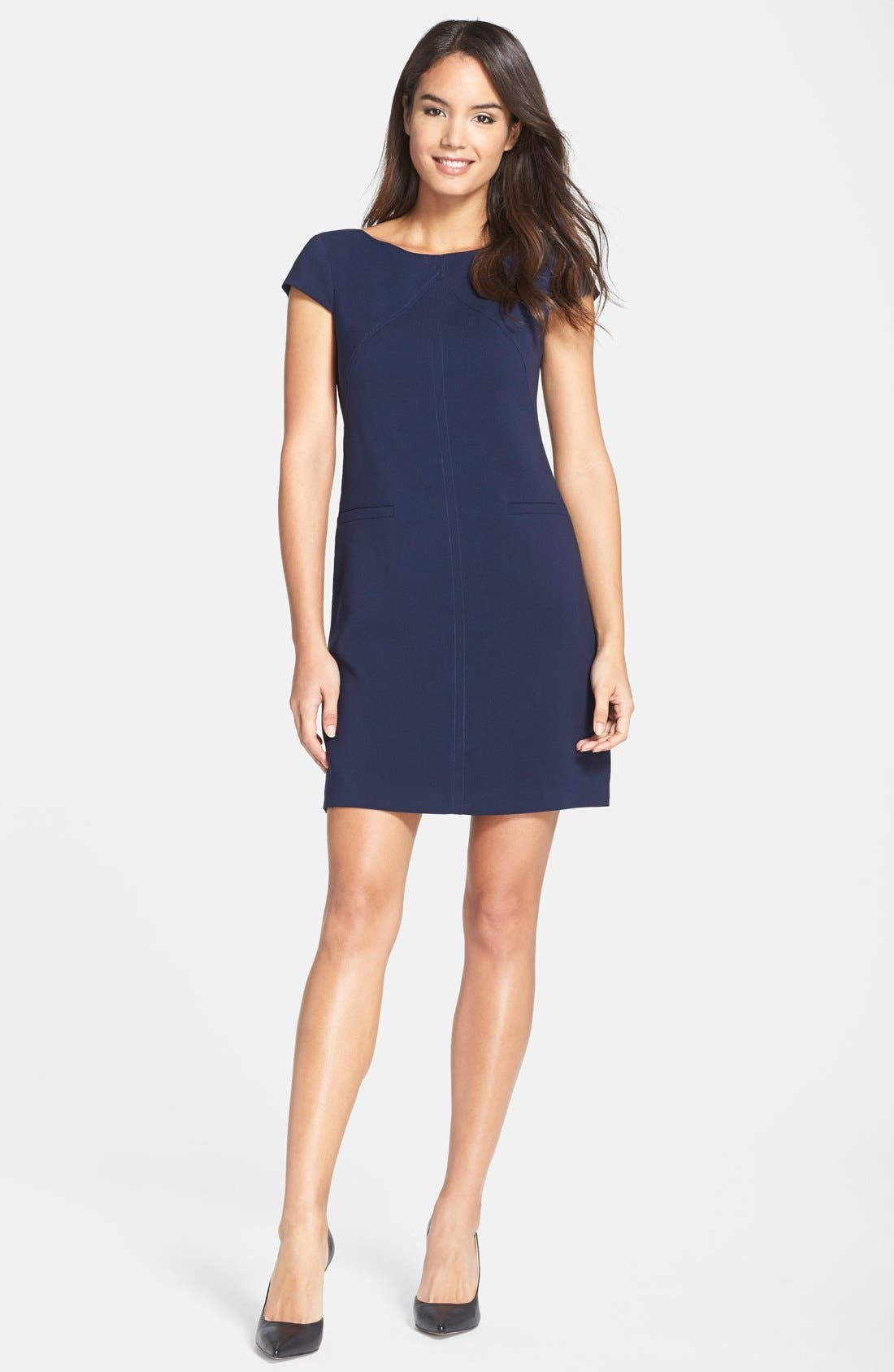 Alternate Image 3  - Eliza J Seamed Crepe Shift Dress