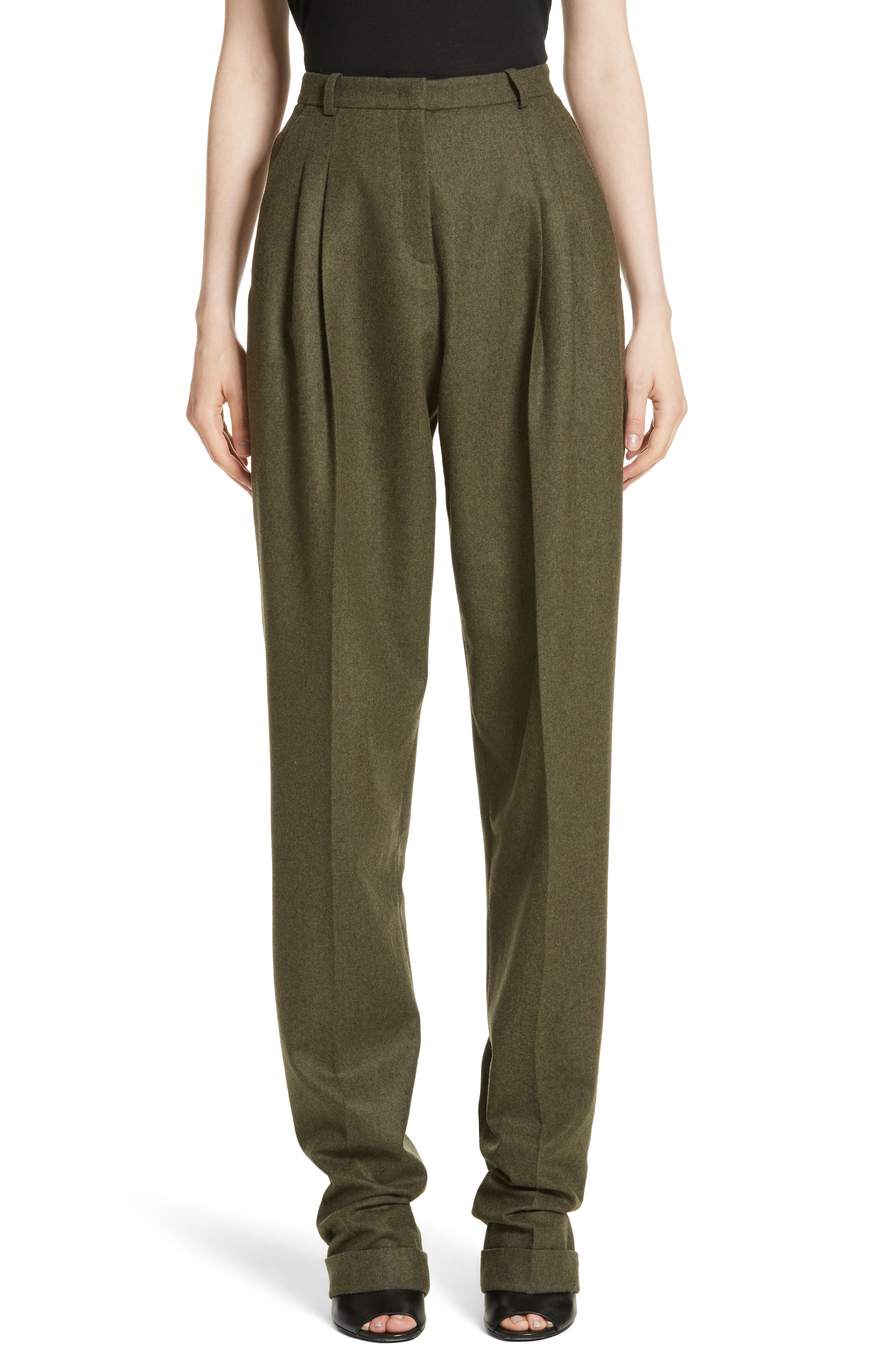 Wool & Cashmere Pleated Flannel Trousers,                         Main,                         color, Olive Mlange