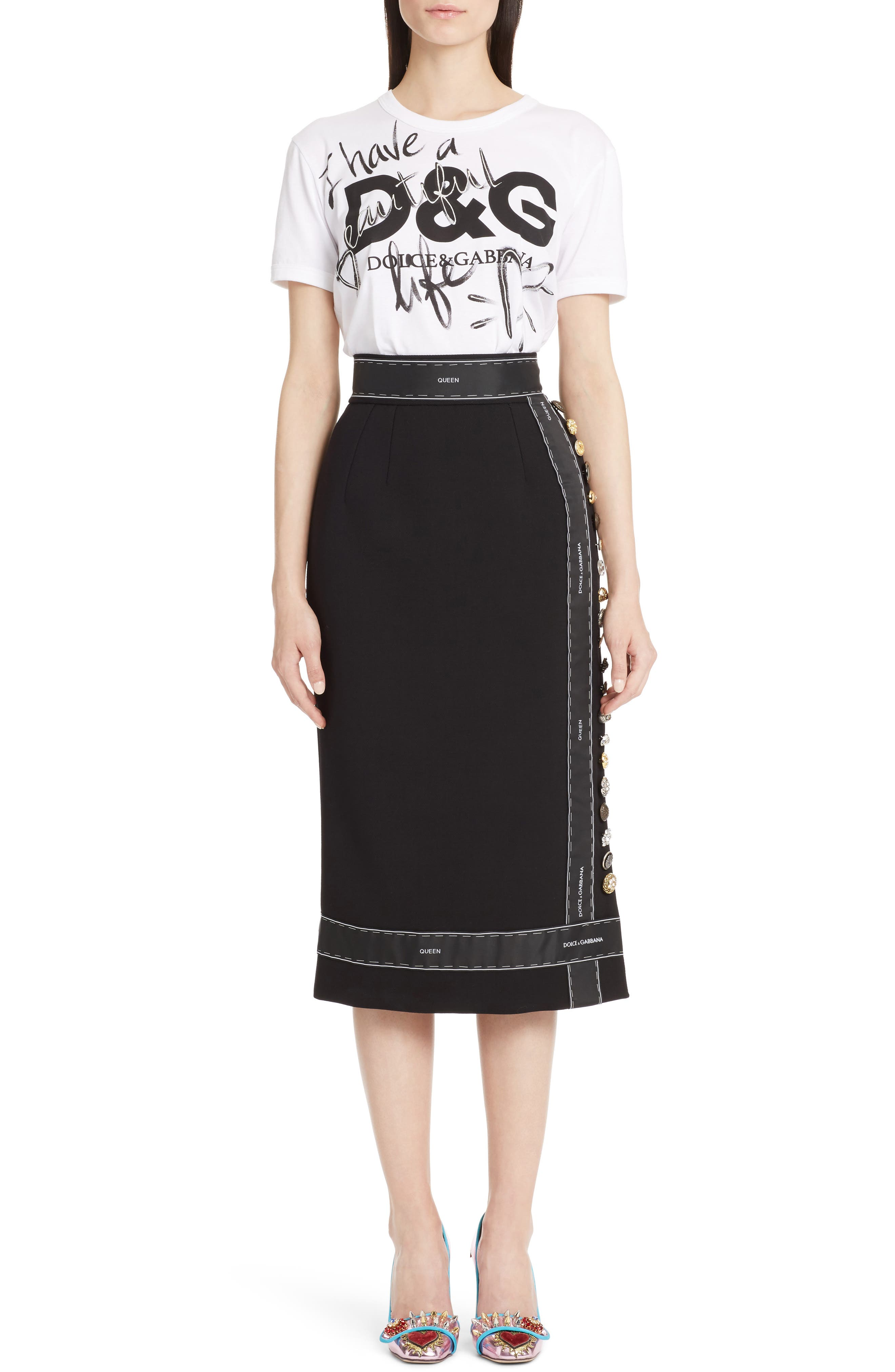 Alternate Image 6  - Dolce&Gabbana Ribbon Trim Pencil Skirt