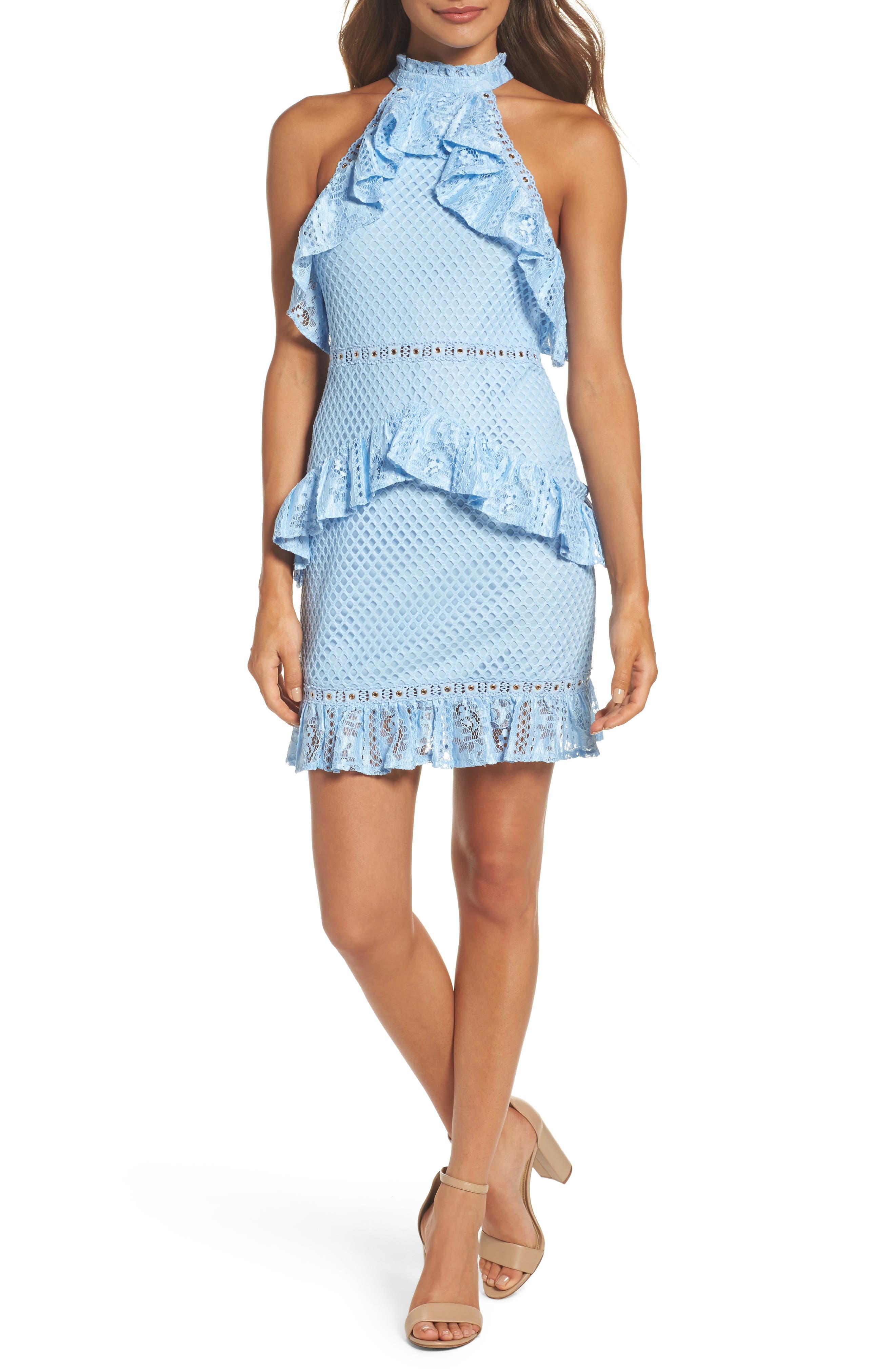 Lace Halter Minidress,                         Main,                         color, Icy Blue