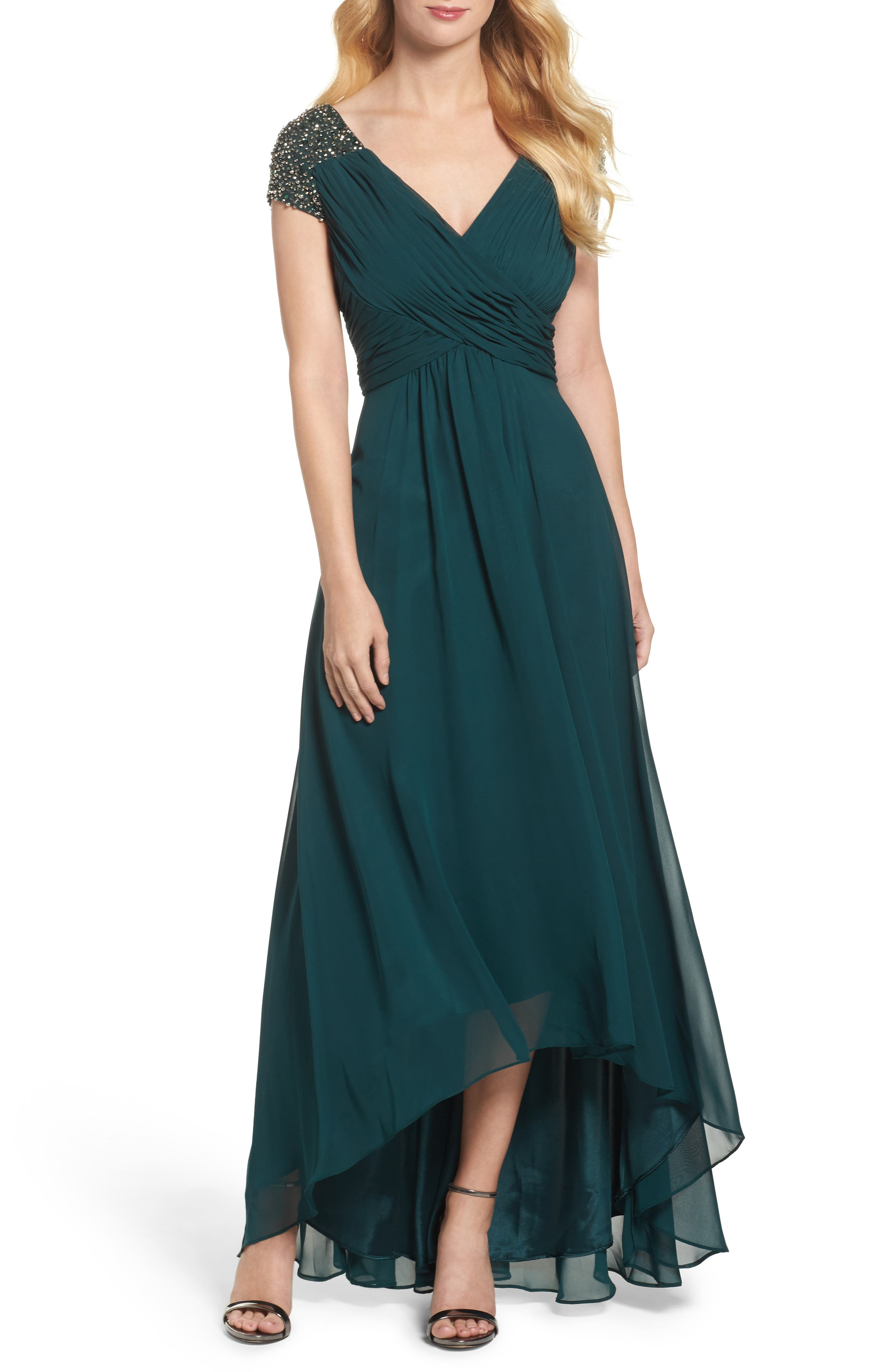 Embellished Pleated Chiffon Gown,                         Main,                         color, Emerald