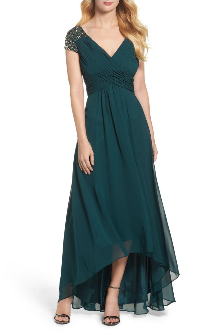 Nordstrom: Eliza J Embellished Pleated Chiffon Gown