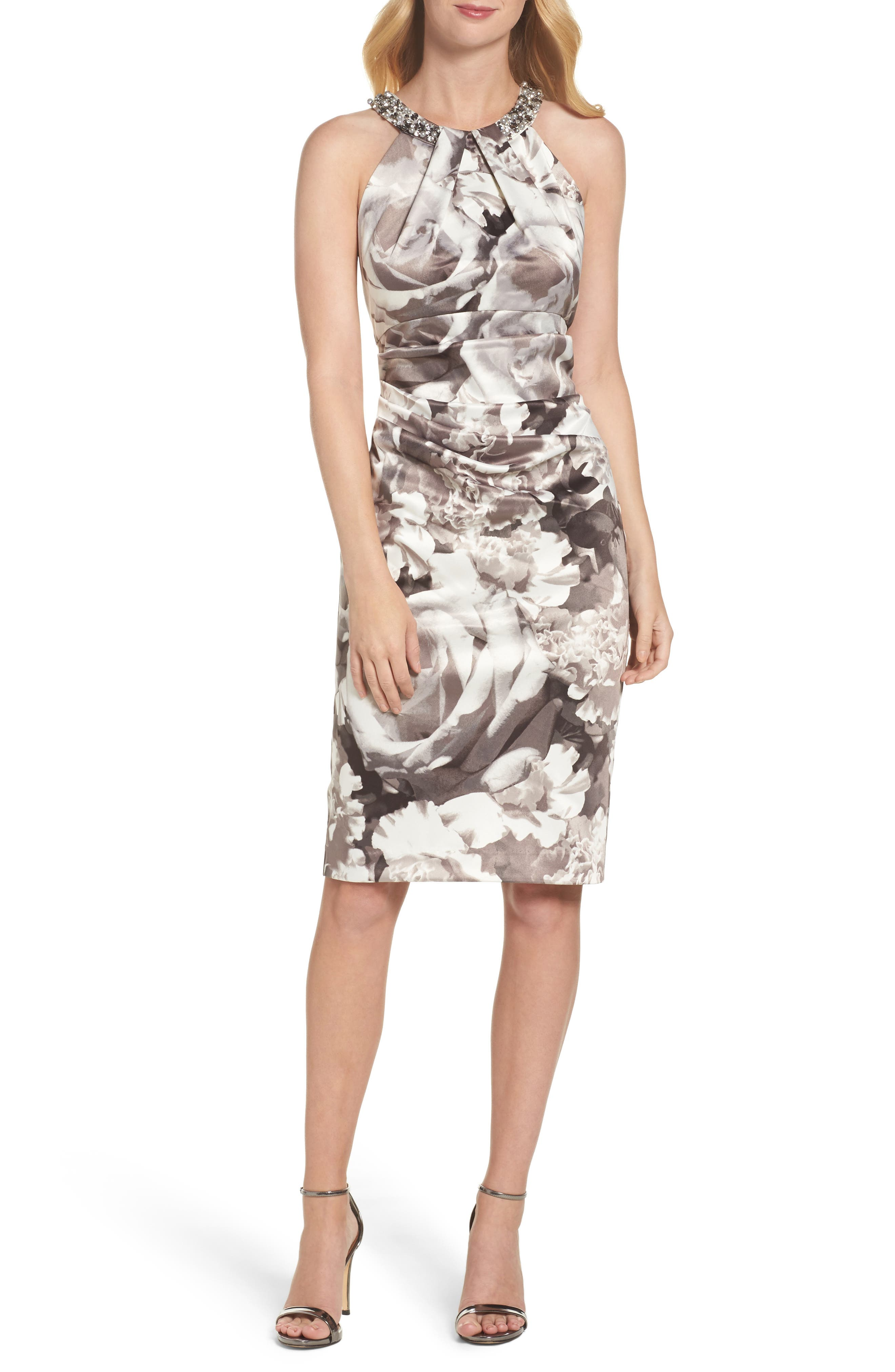 Embellished Print Sheath Dress,                             Main thumbnail 1, color,                             Black/ White