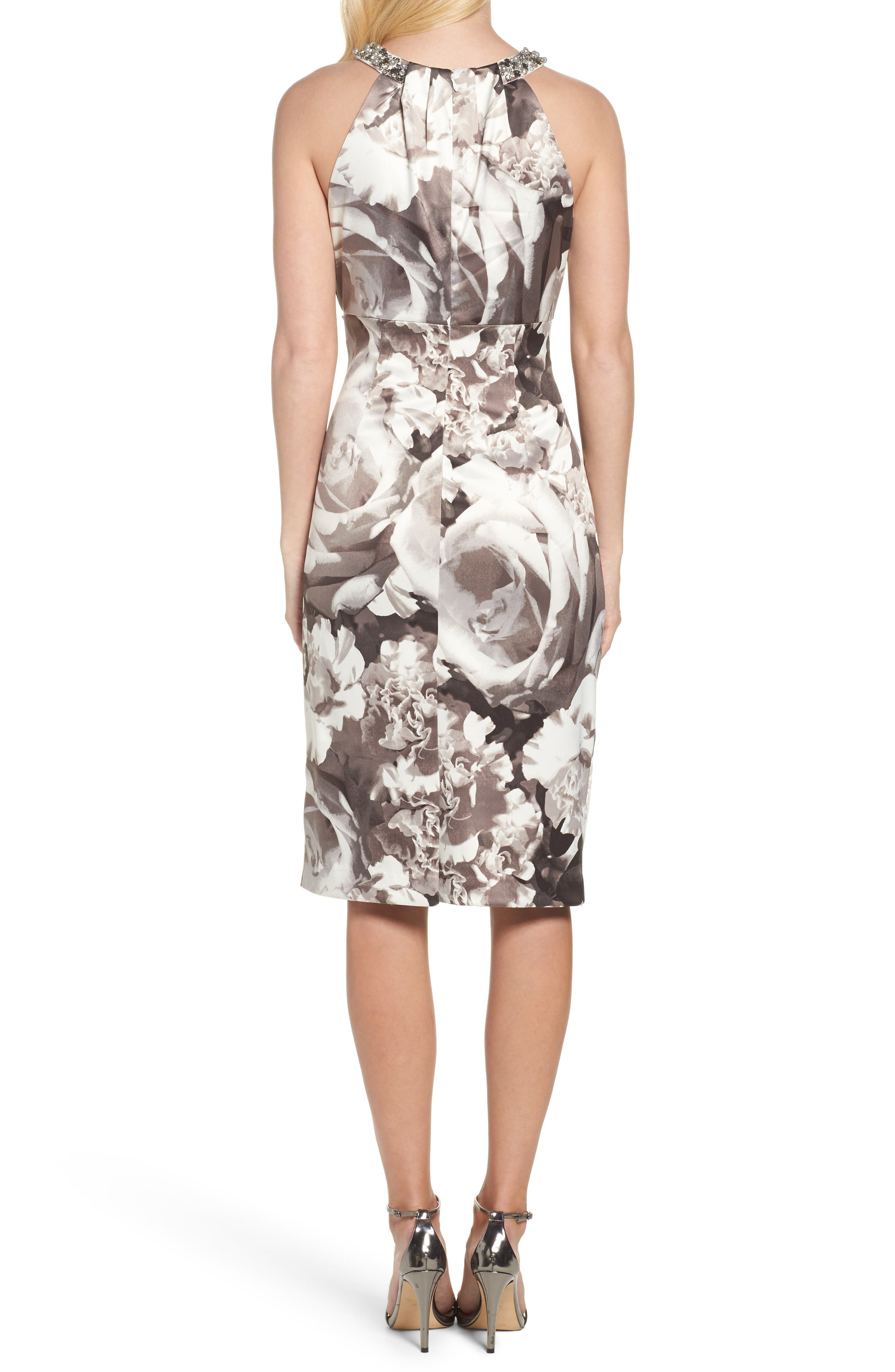 Embellished Print Sheath Dress,                             Alternate thumbnail 2, color,                             Black/ White