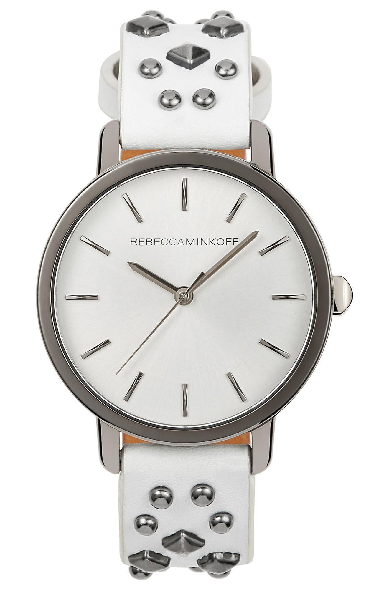 Main Image - Rebecca Minkoff BFFL Studded Leather Strap Watch, 36mm