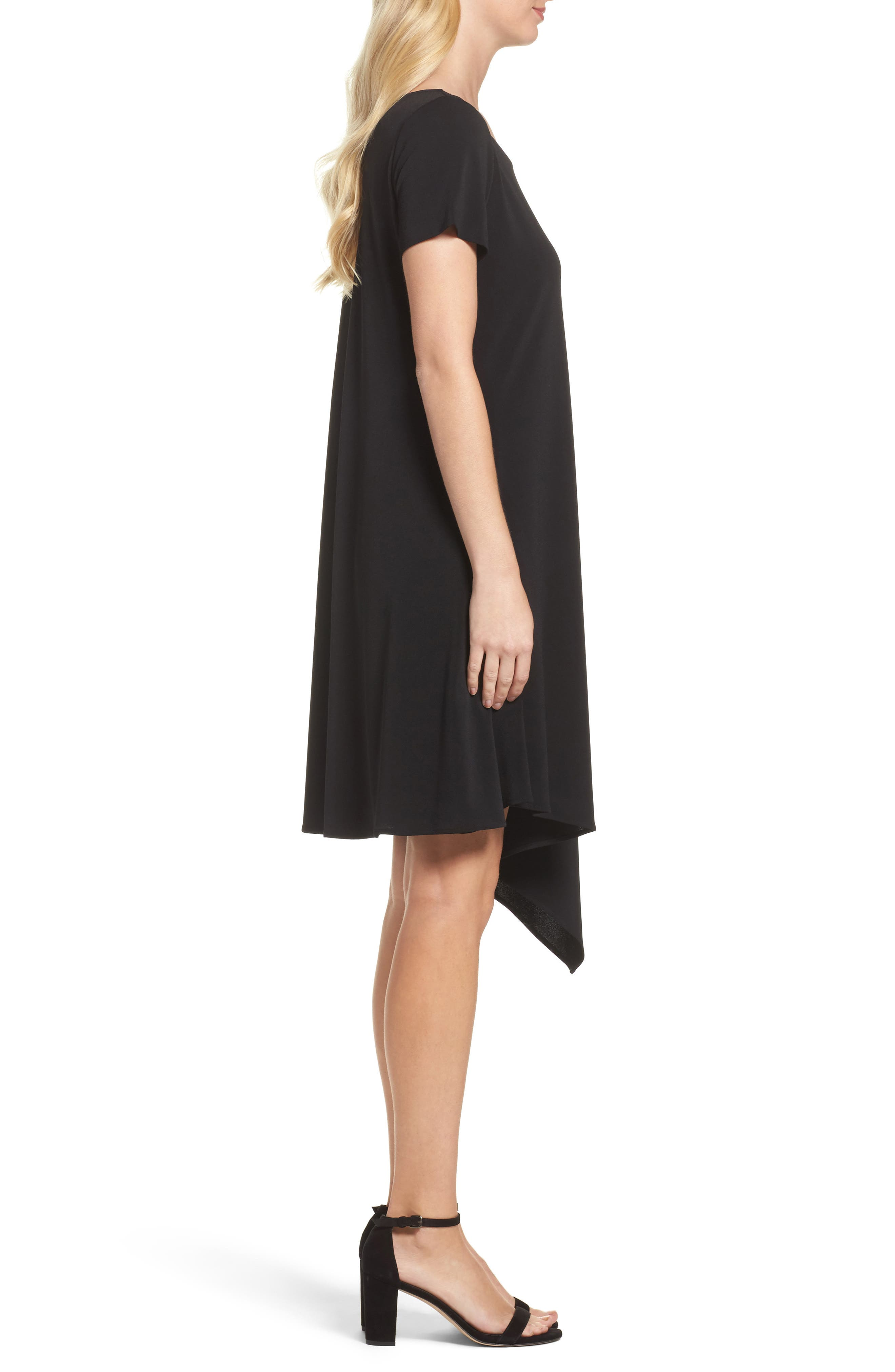 Darien Asymmetrical Dress,                             Alternate thumbnail 3, color,                             Black Crepe