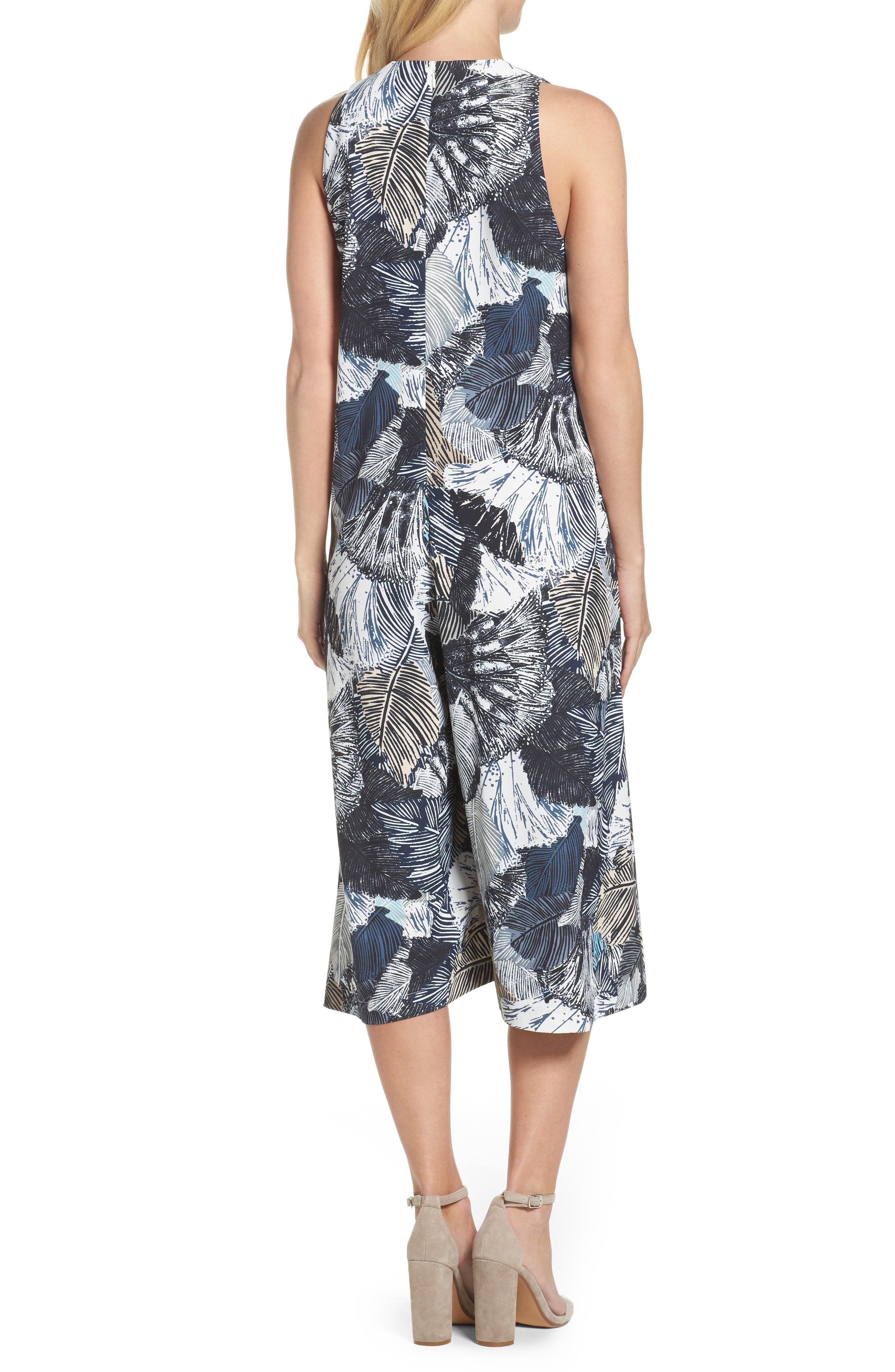 Lala Palm Culotte Jumpsuit,                             Alternate thumbnail 2, color,                             Summer White Multi