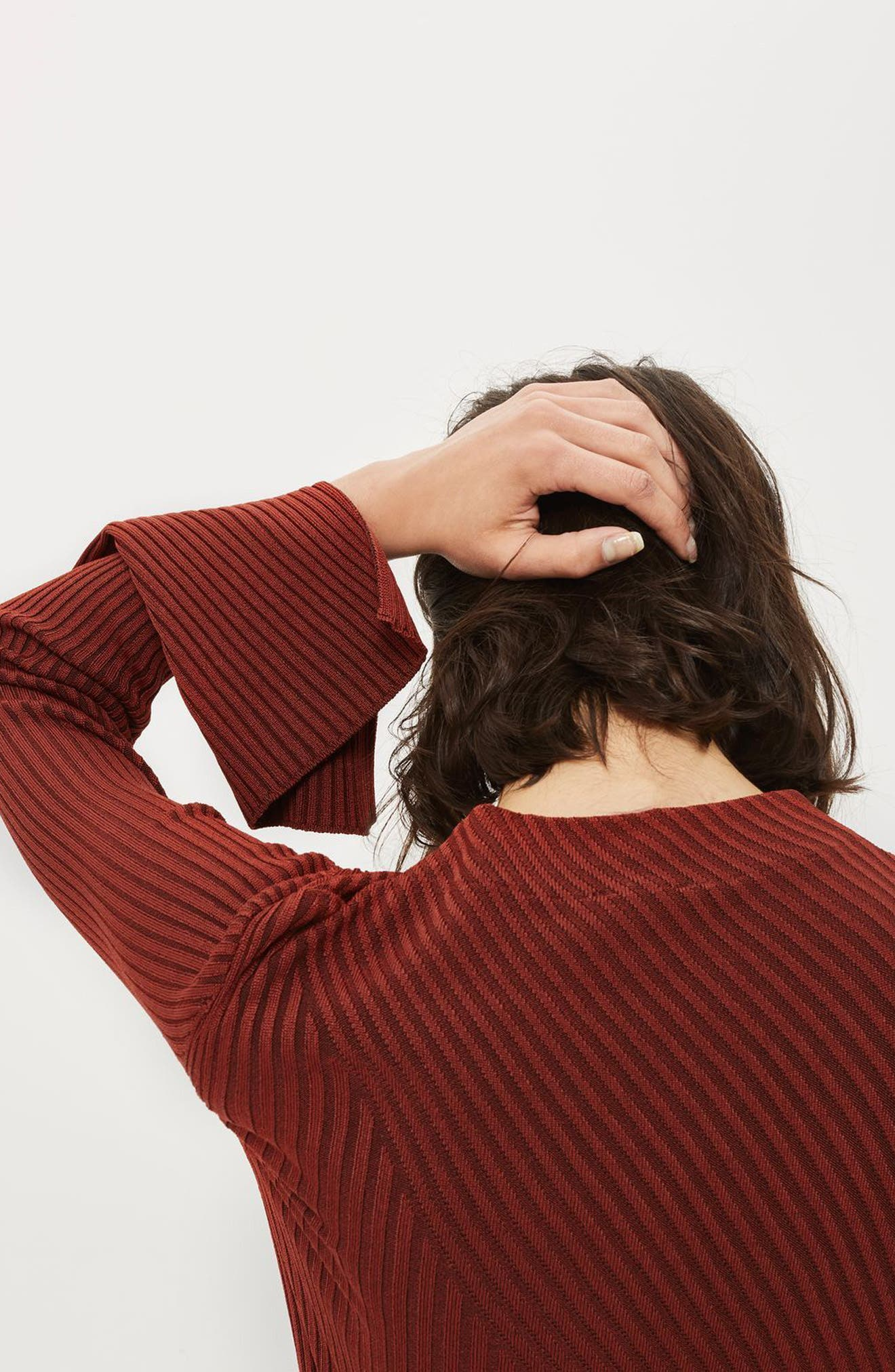 Asymmetrical Ribbed Sweater,                             Alternate thumbnail 4, color,                             Rust