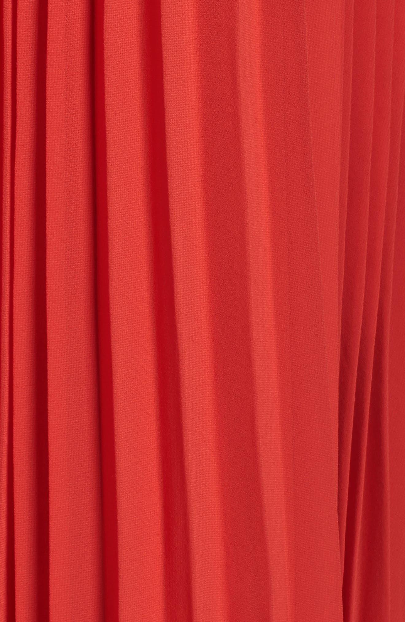 Lace Trim Pleated Midi Dress,                             Alternate thumbnail 5, color,                             Red