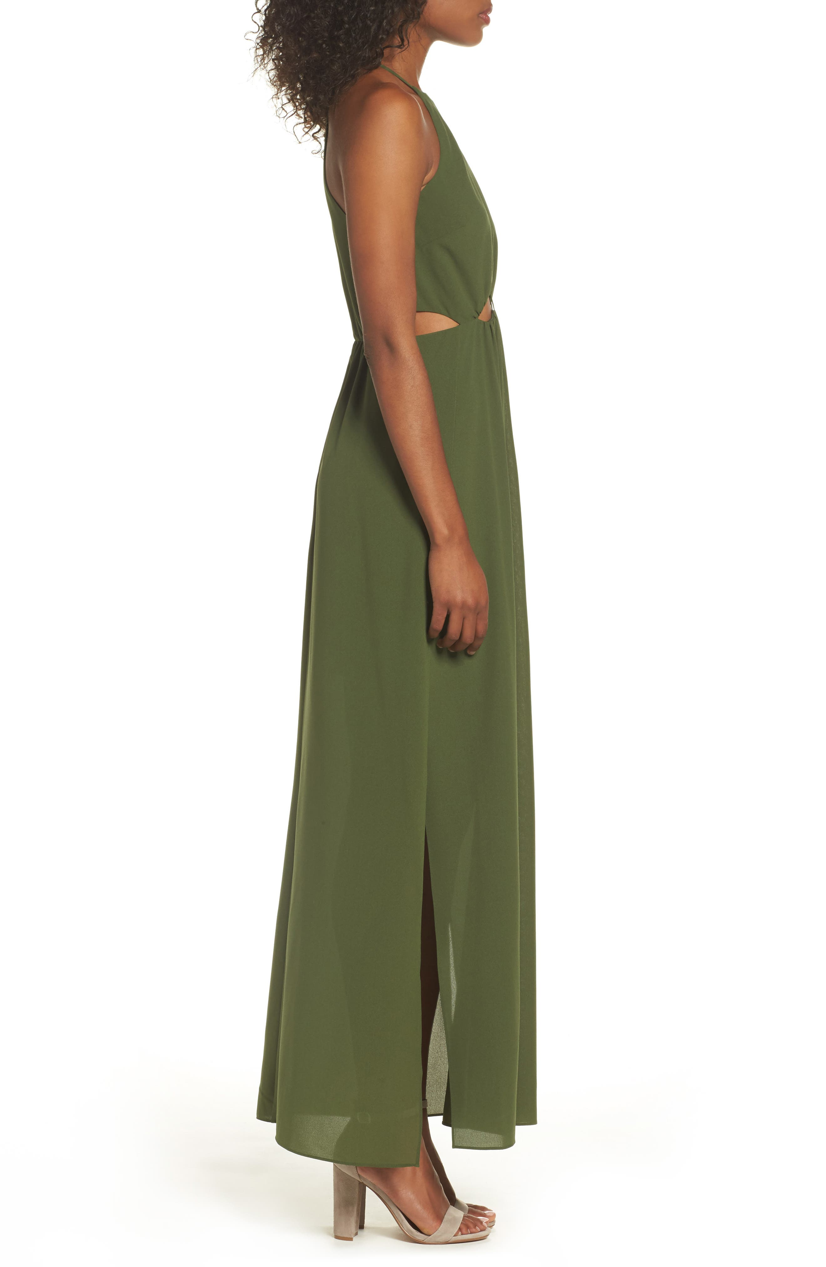 Gazing At The Observatory Maxi Dress,                             Alternate thumbnail 4, color,                             Army
