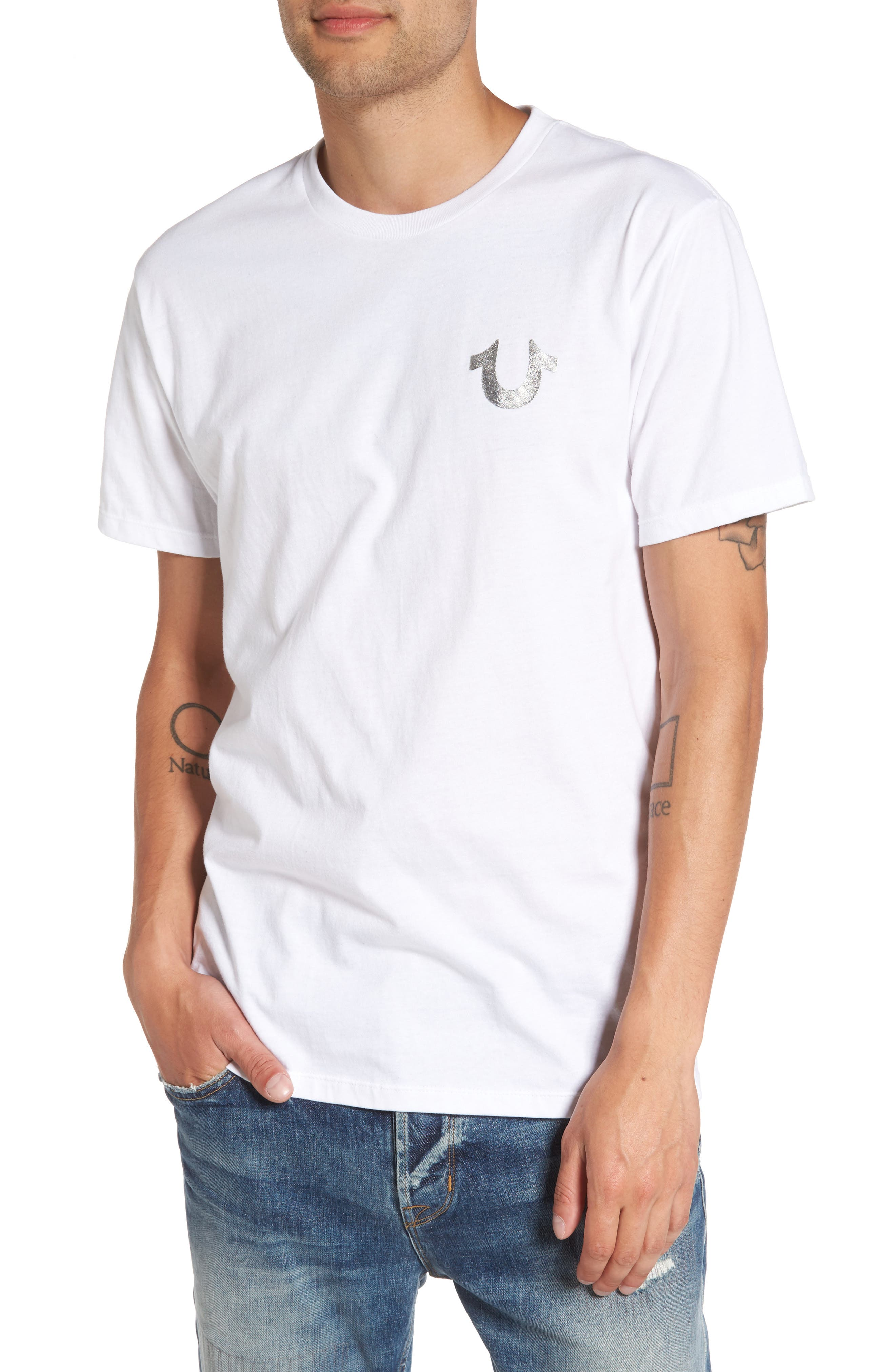 True Religion Silver Buddha T-Shirt,                             Main thumbnail 1, color,                             Optic White
