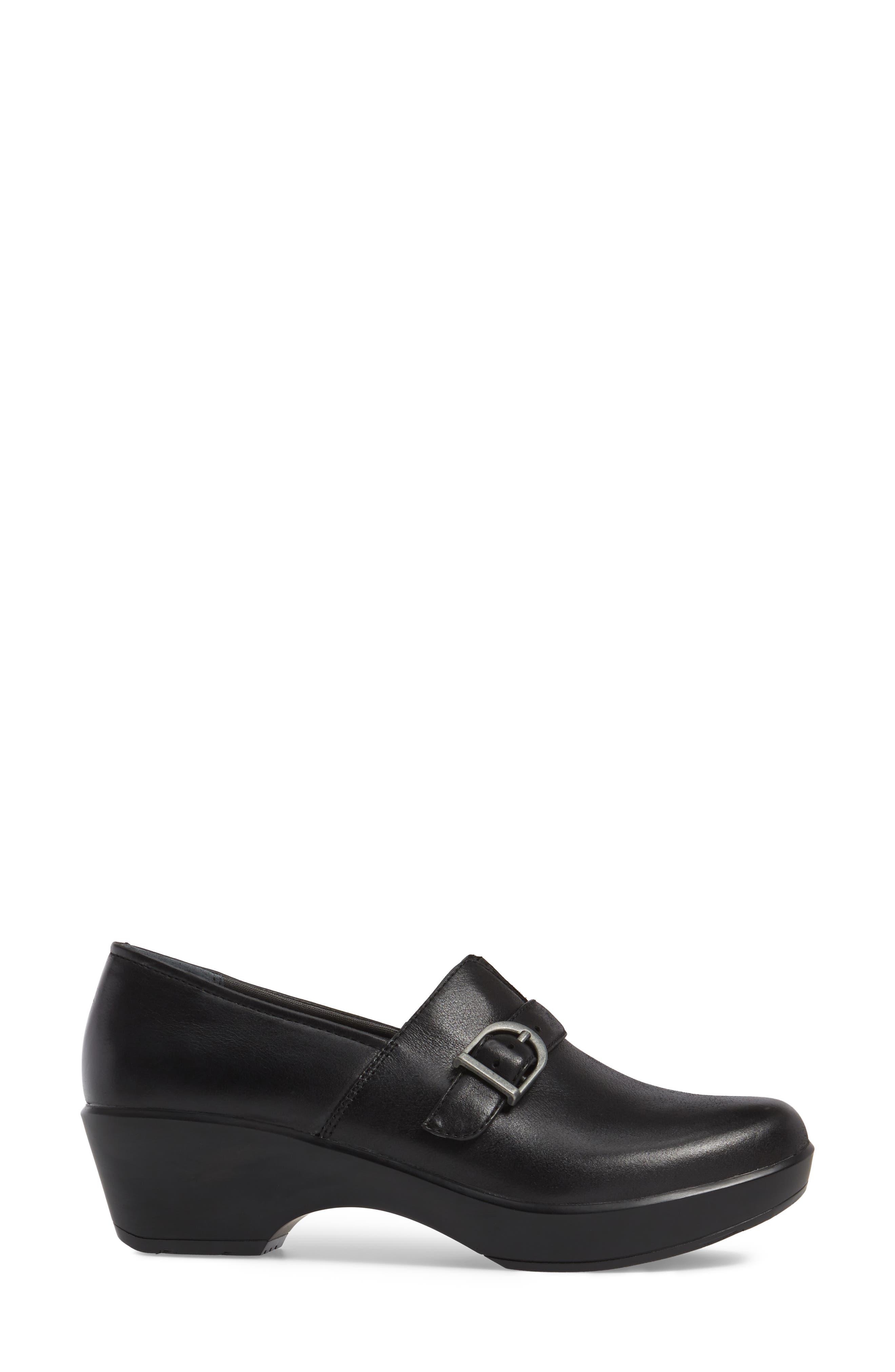 Jane Platform Loafer,                             Alternate thumbnail 3, color,                             Black Burnished Nappa Leather