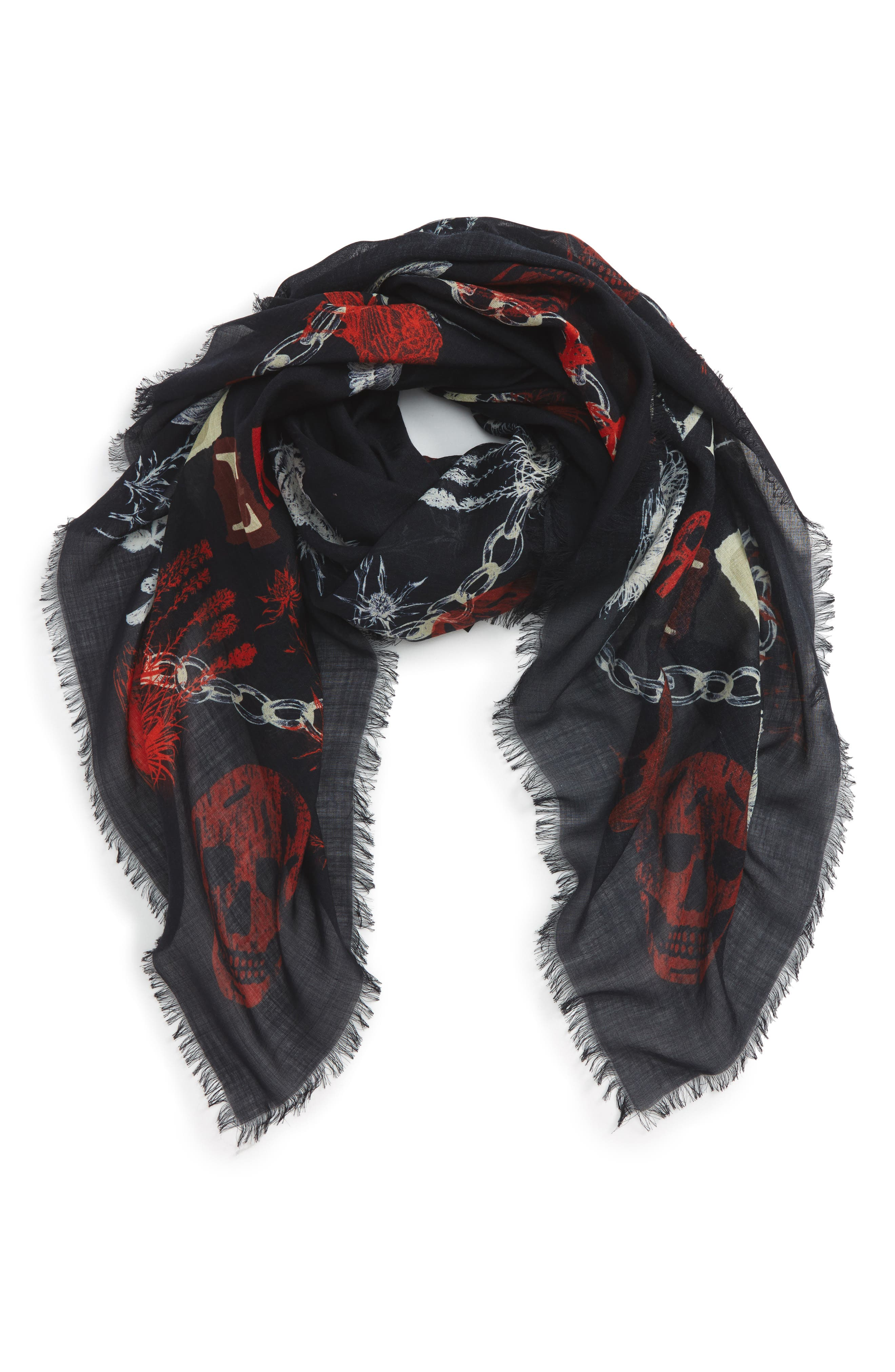 Ramson Wool & Silk Scarf,                             Main thumbnail 1, color,                             Midnight Blue/ Red