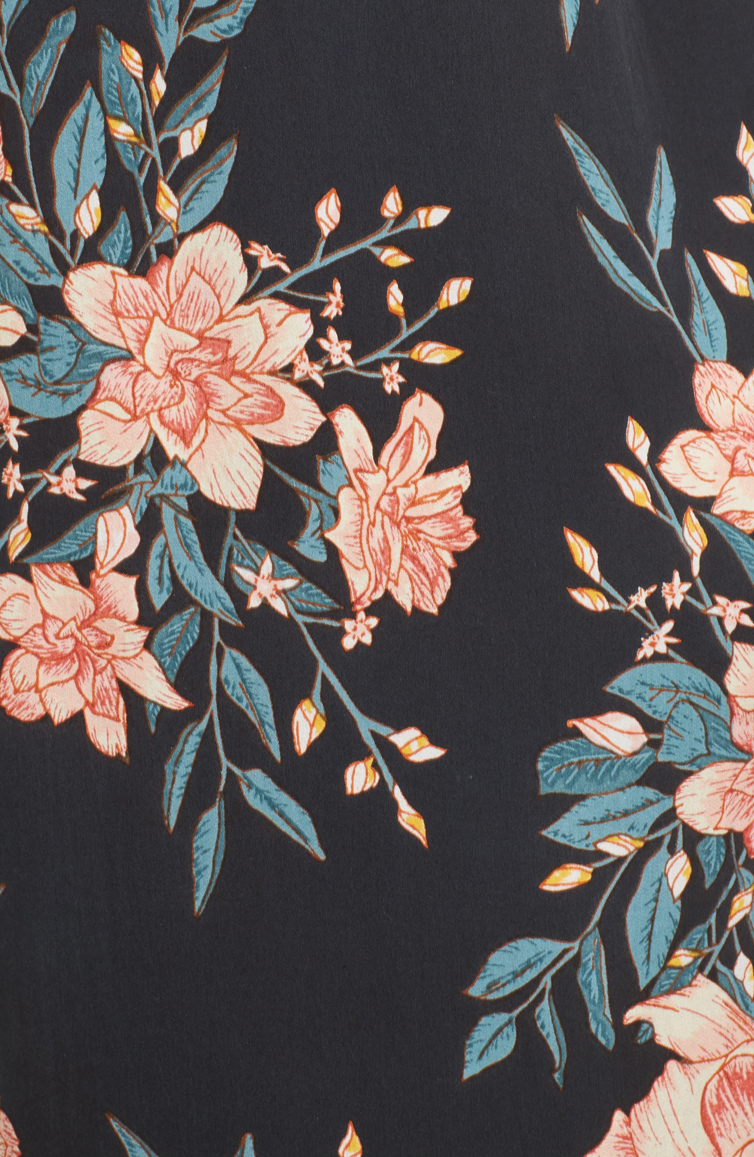 Dreamy Garden Print Dress,                             Alternate thumbnail 5, color,                             Black