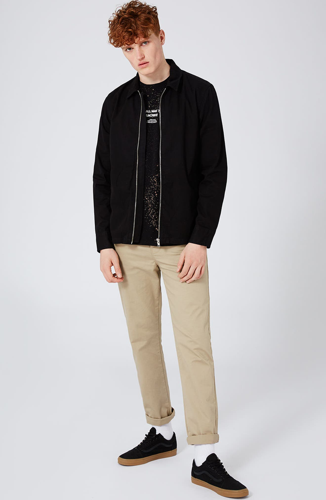 Herringbone Zip Shirt Jacket,                             Alternate thumbnail 2, color,                             Black