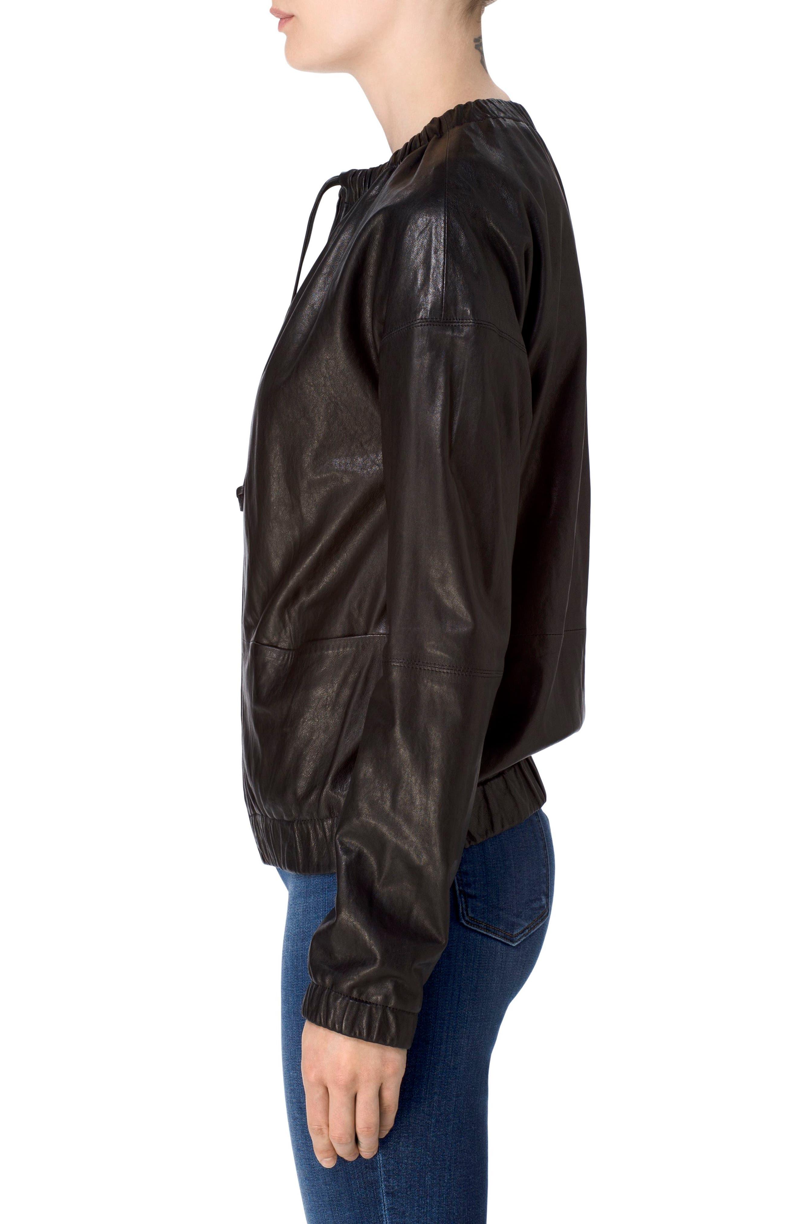 Baez Leather Bomber Jacket,                             Alternate thumbnail 3, color,                             Black