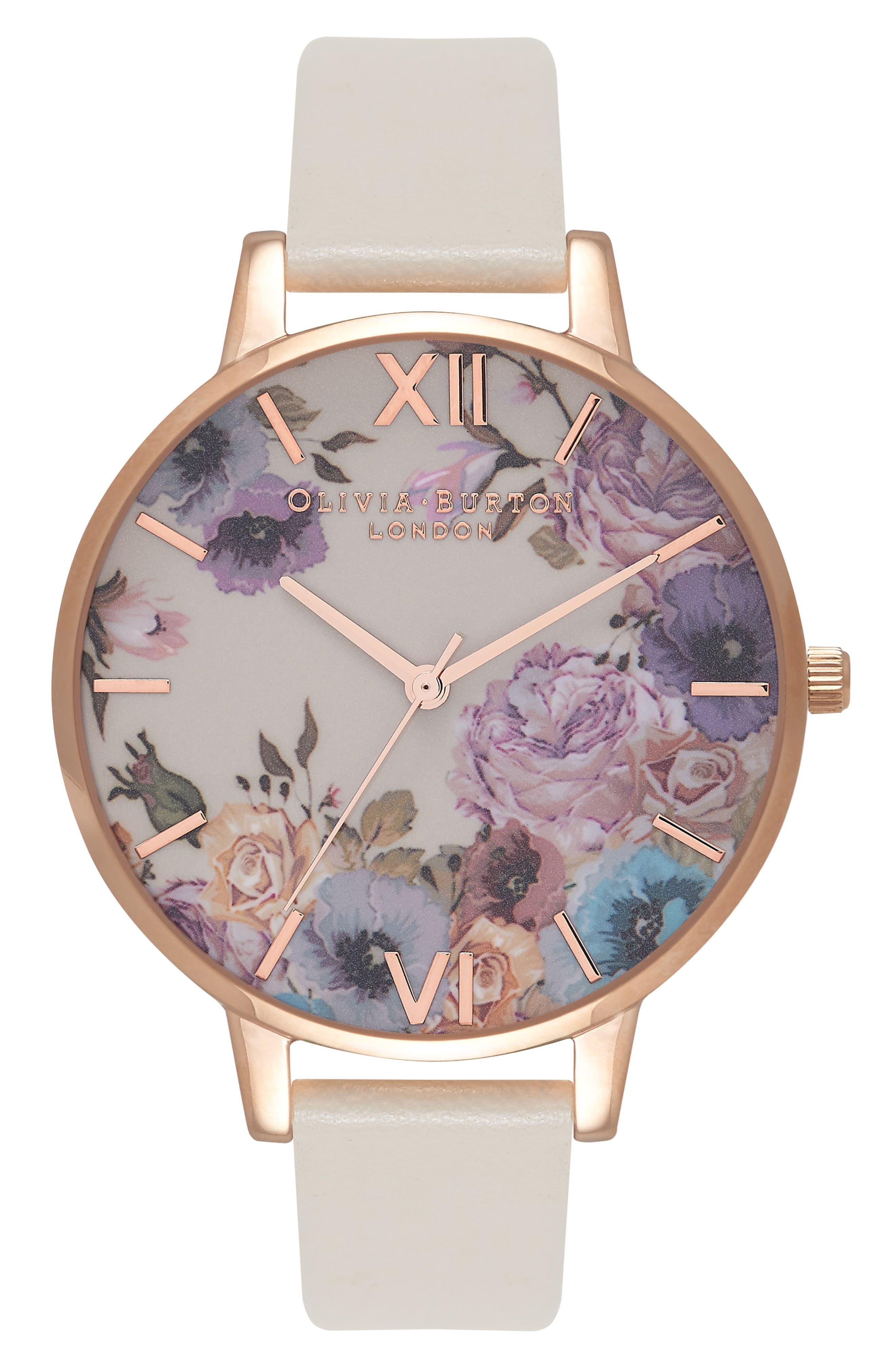 Olivia Burton Enchanted Garden Faux Leather Strap Watch, 38mm
