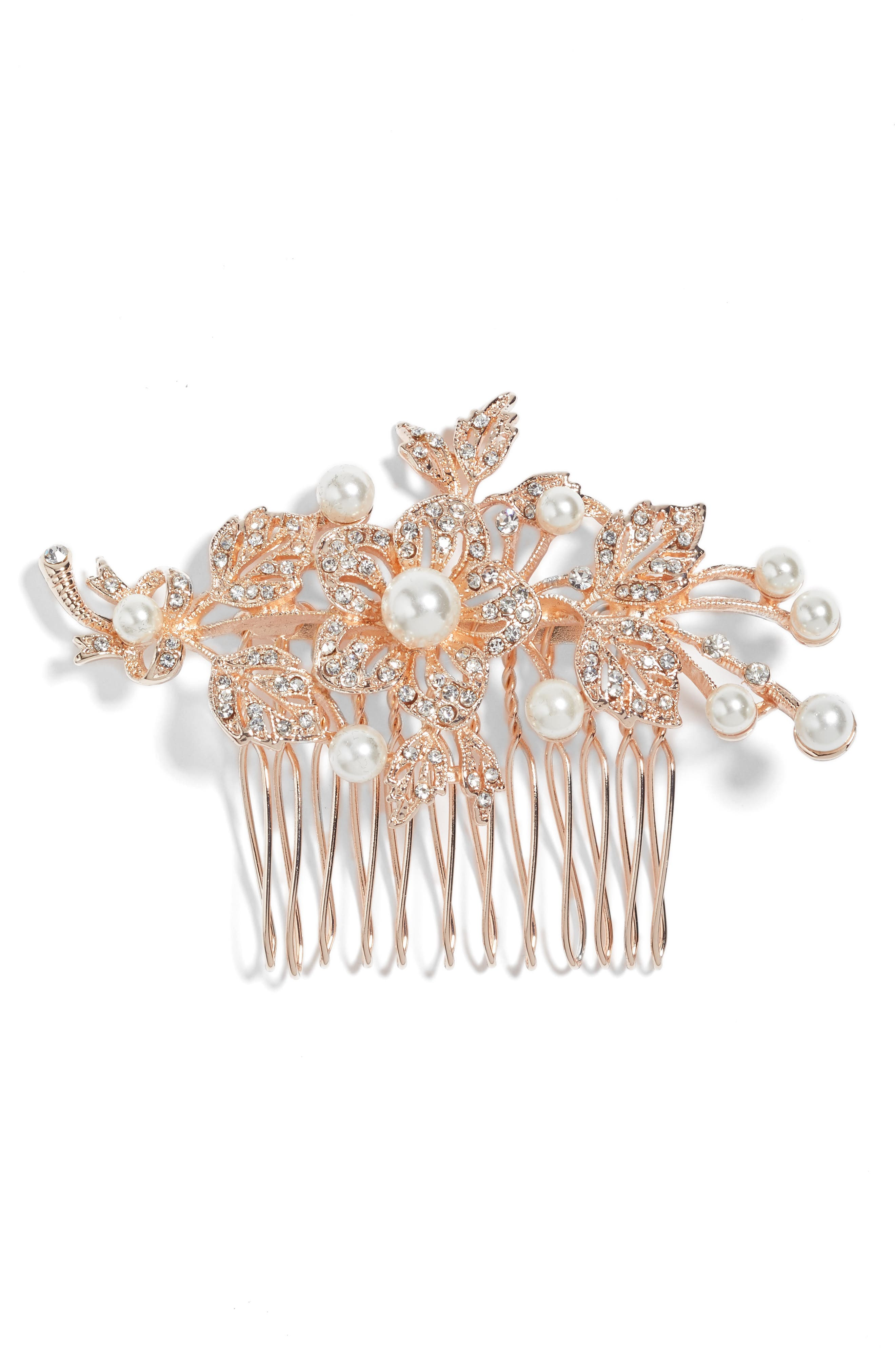 Nina Ladee Crystal & Imitation Pearl Floral Comb