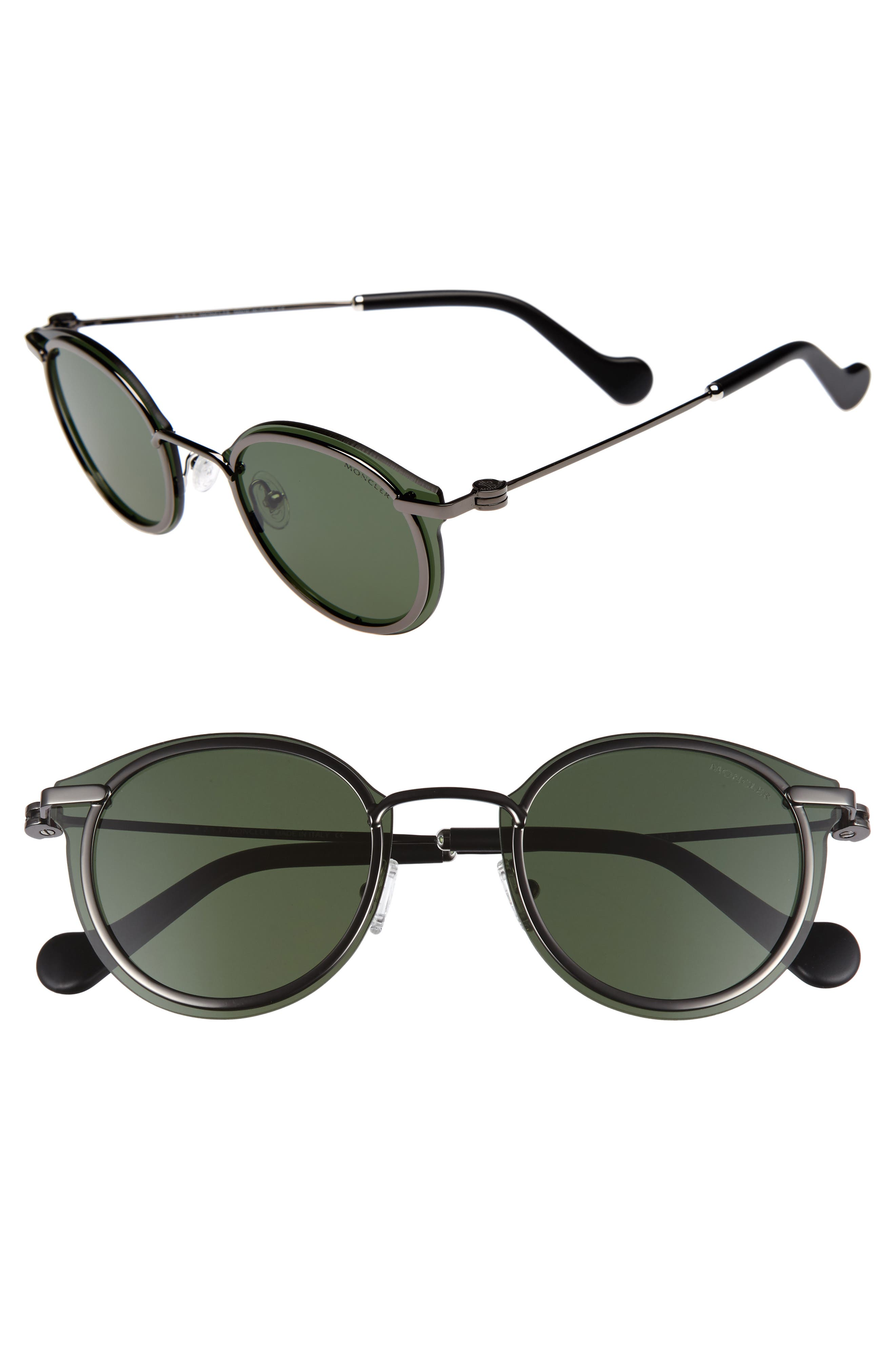 58mm Mirrored Round Sunglasses,                         Main,                         color, Shiny Gunmetal/ Green