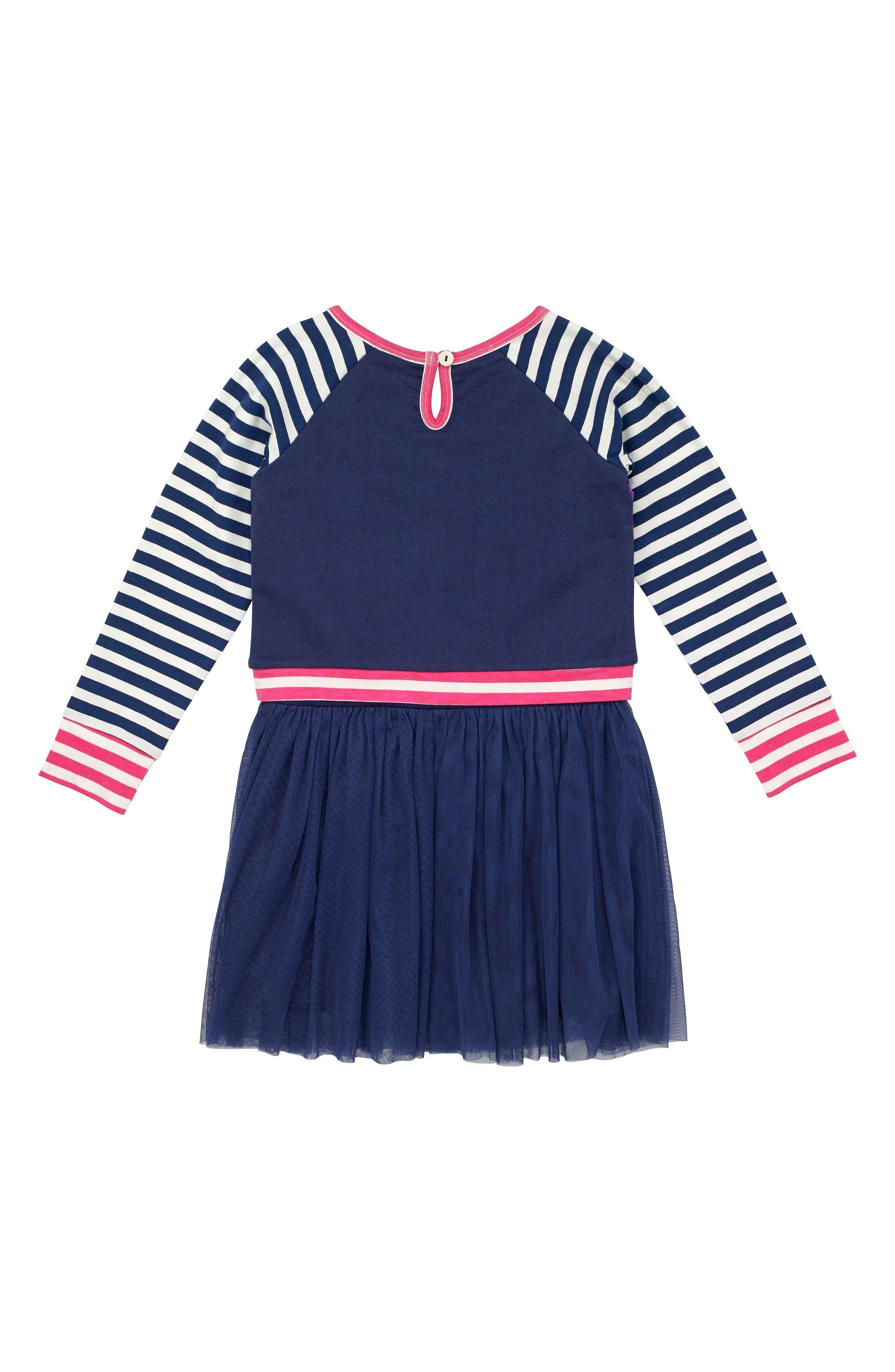 Alternate Image 2  - Masalababy Floral & Stripe Organic Cotton Dress (Toddler Girls, Little Girls & Big Girls)