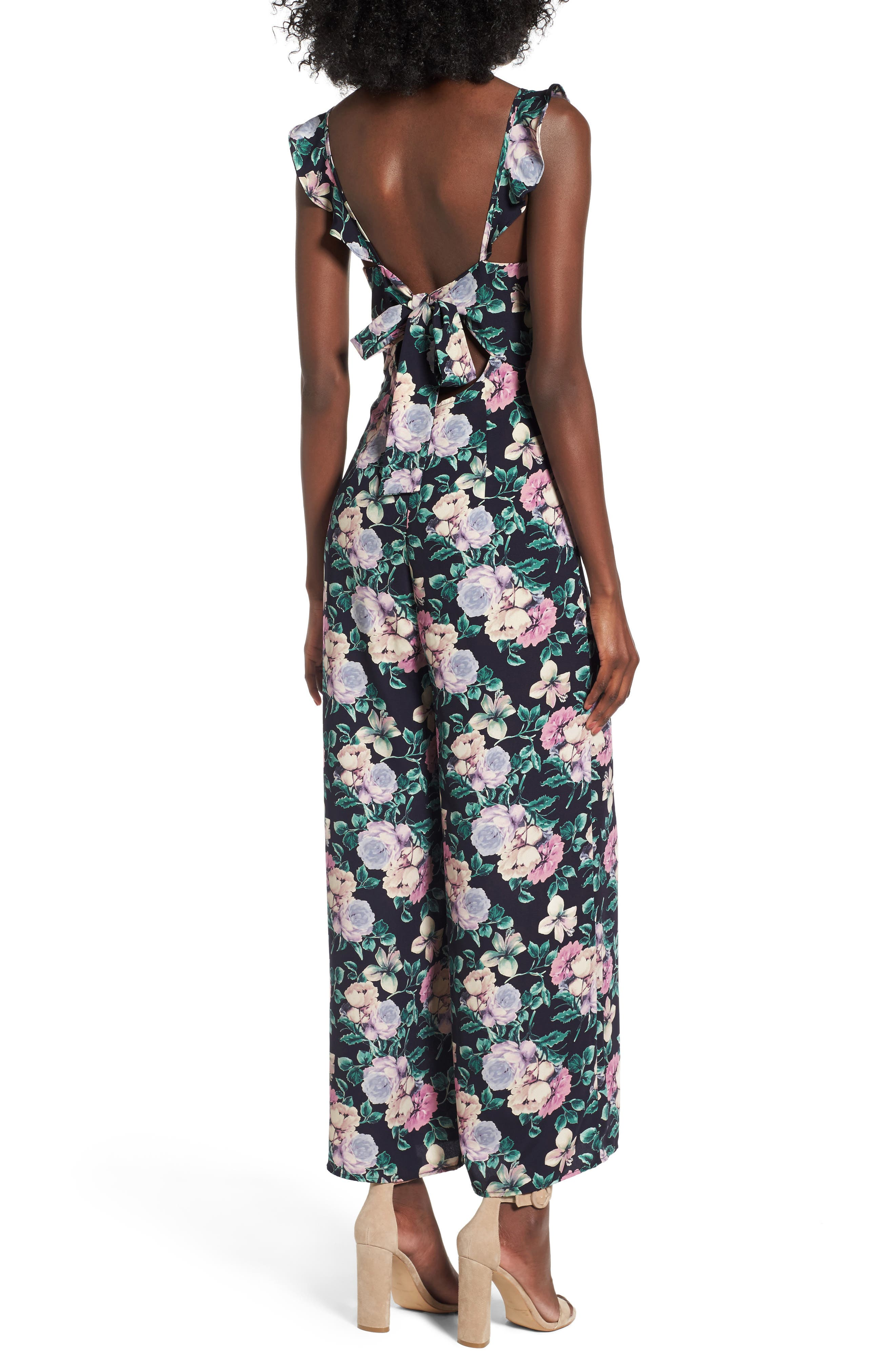 Ruffle Strap Jumpsuit,                             Alternate thumbnail 2, color,                             Navy Medieval Pretty Floral