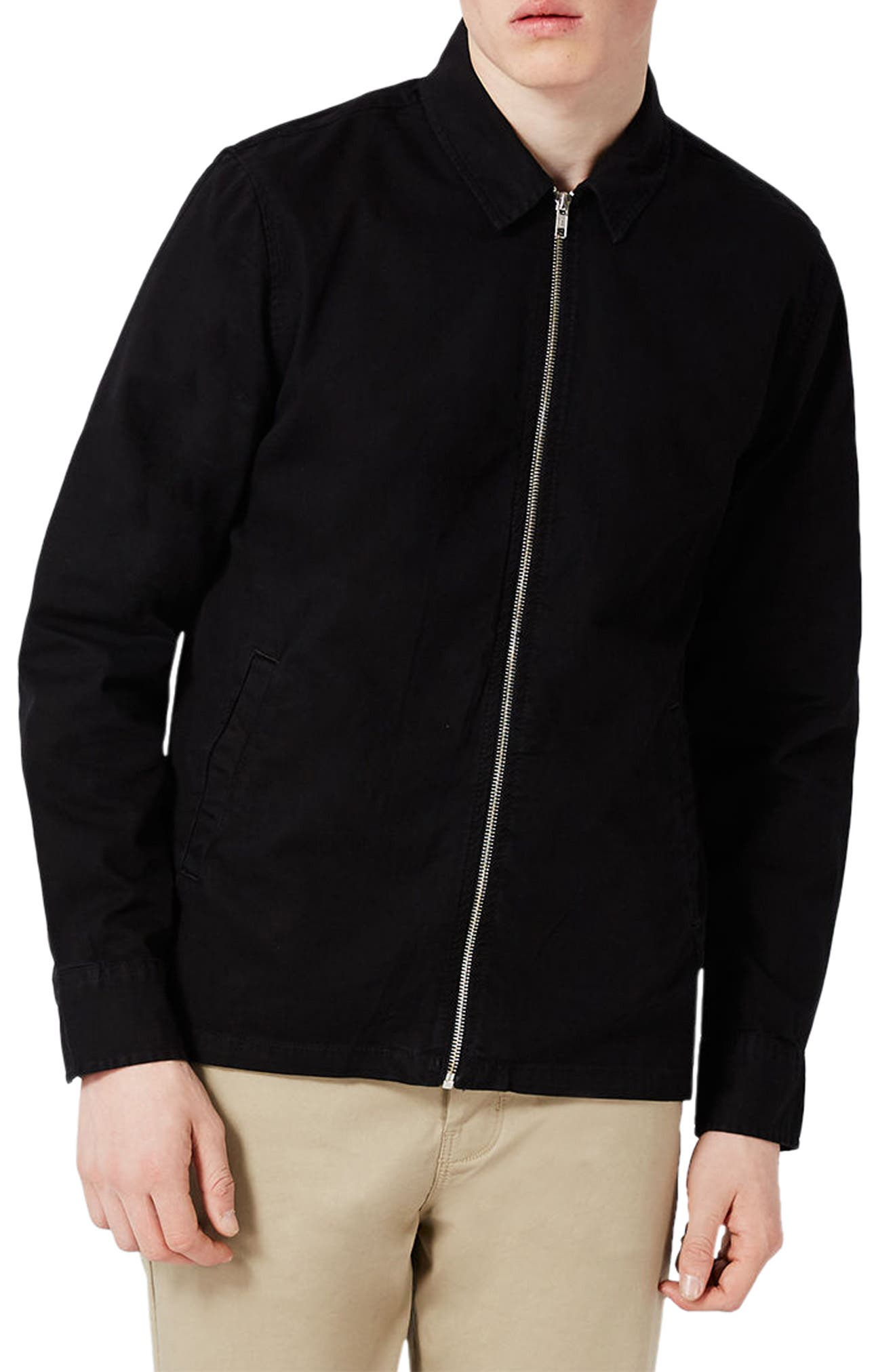 Herringbone Zip Shirt Jacket,                             Main thumbnail 1, color,                             Black