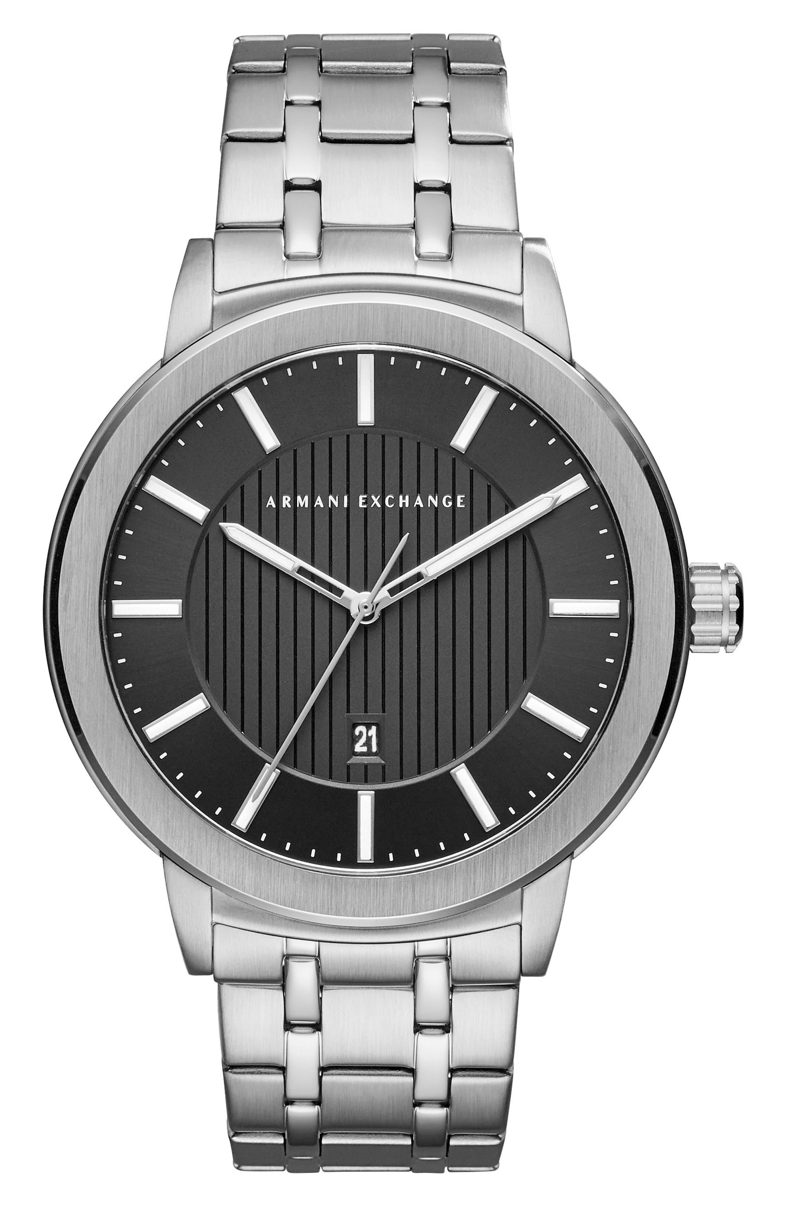 Bracelet Watch, 46mm,                         Main,                         color, Black/ Silver