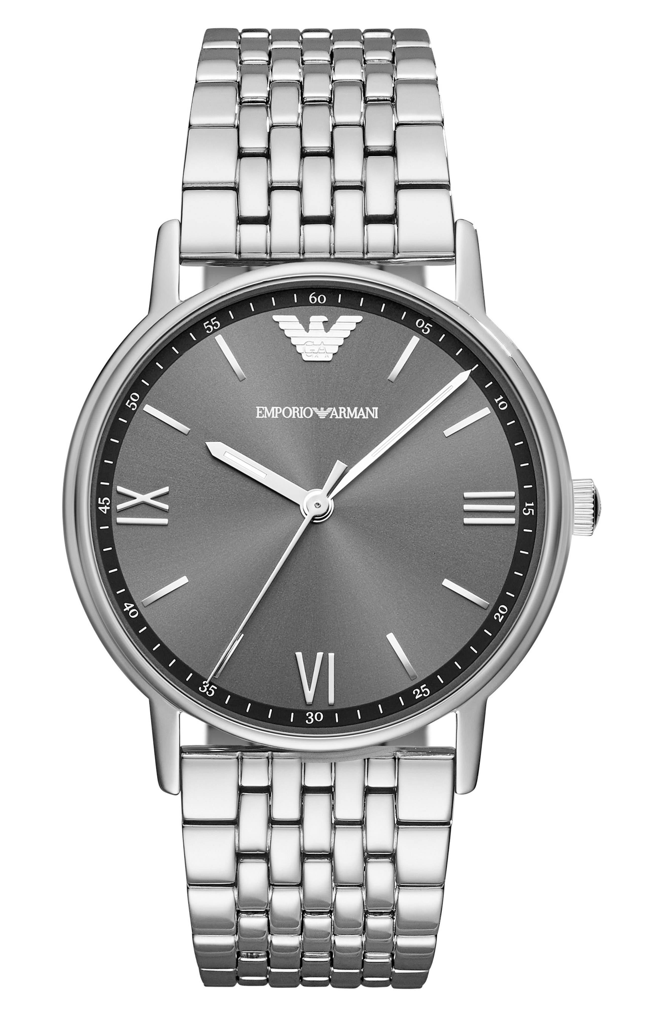 Round Bracelet Watch, 41mm,                             Main thumbnail 1, color,                             Black/ Silver