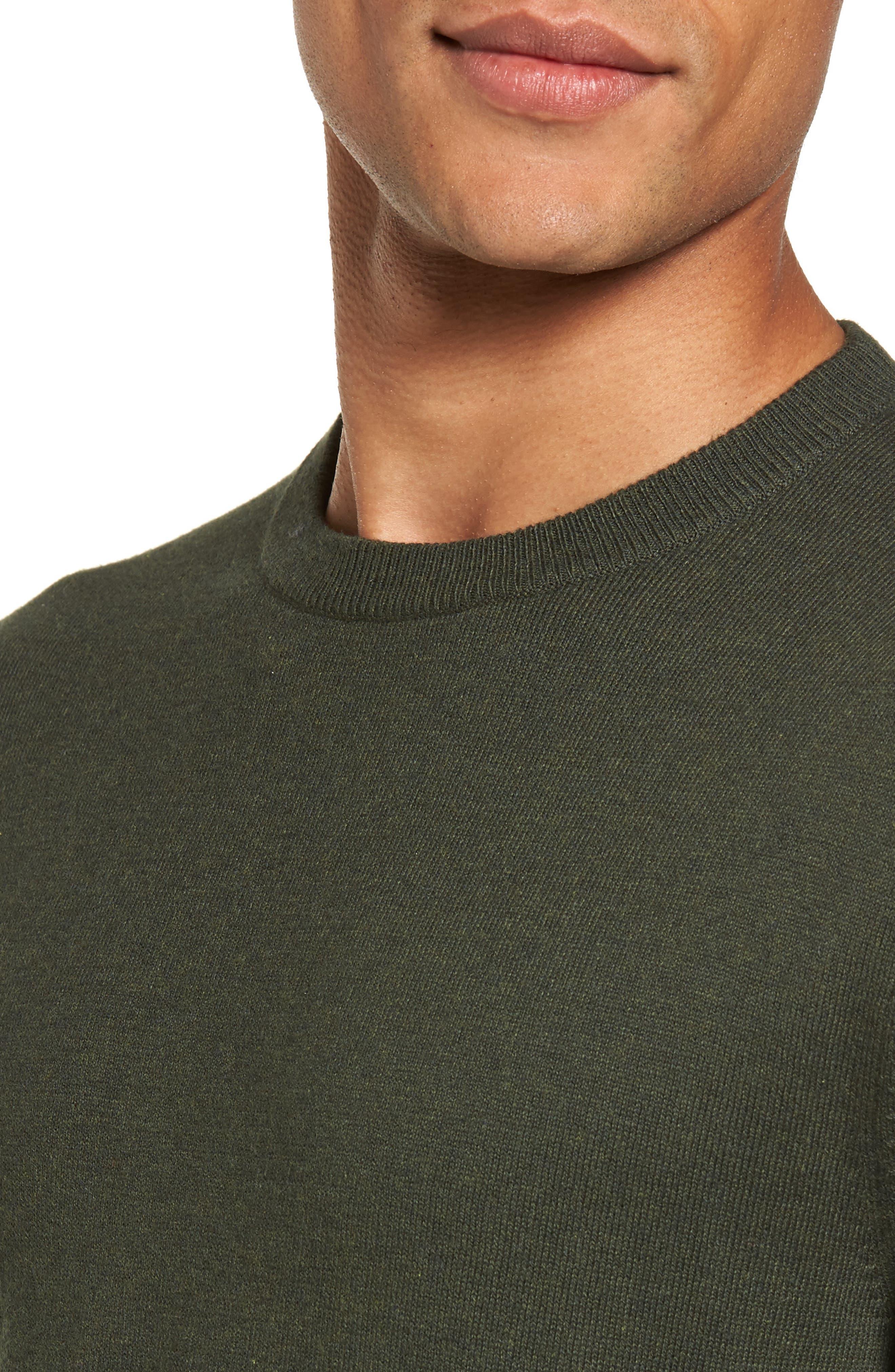 Cotton & Cashmere Crewneck Sweater,                             Alternate thumbnail 4, color,                             Green Deep Pine