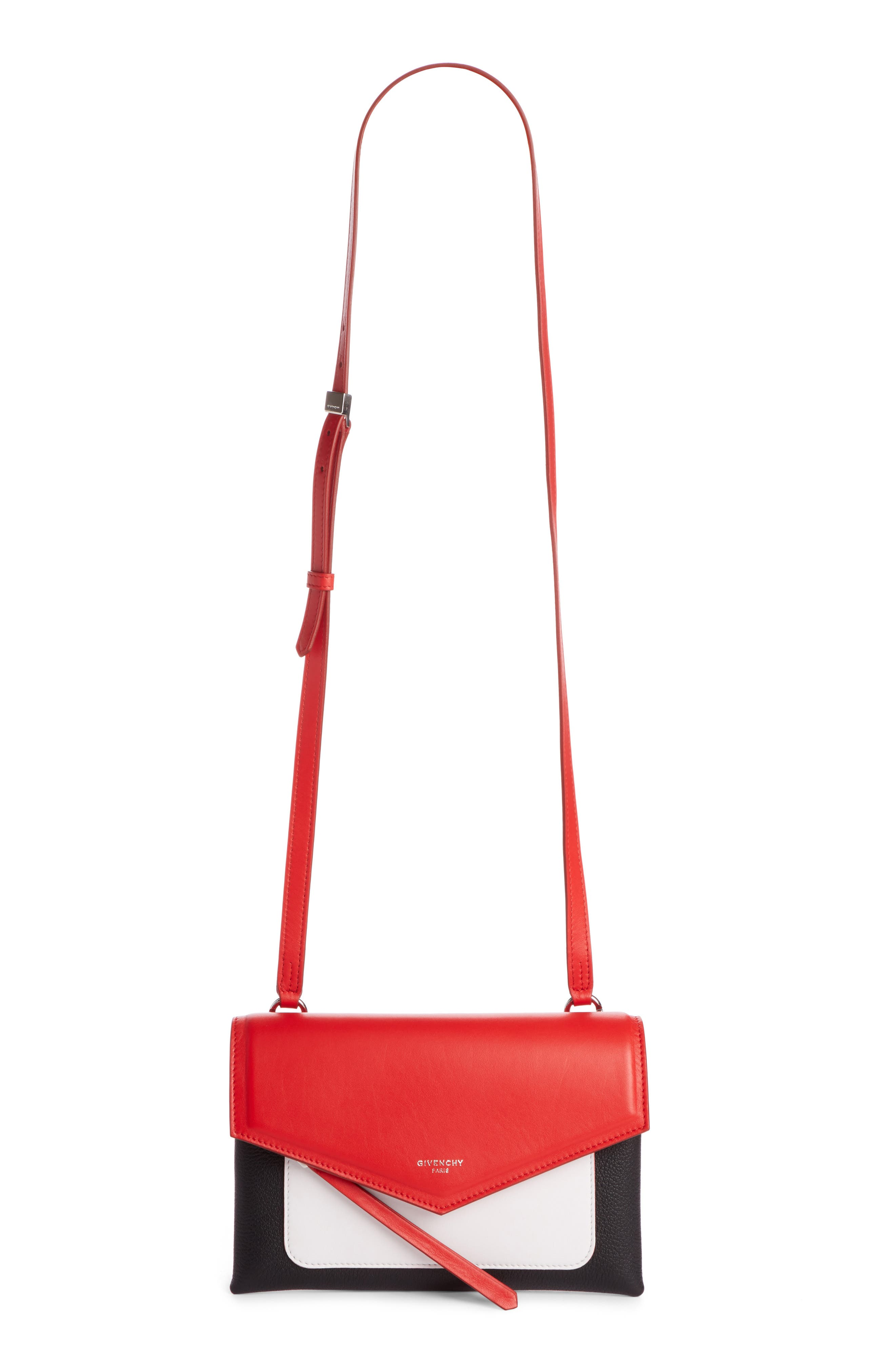 Duetto Tricolor Leather Flap Crossbody Bag,                         Main,                         color, Red/ Black