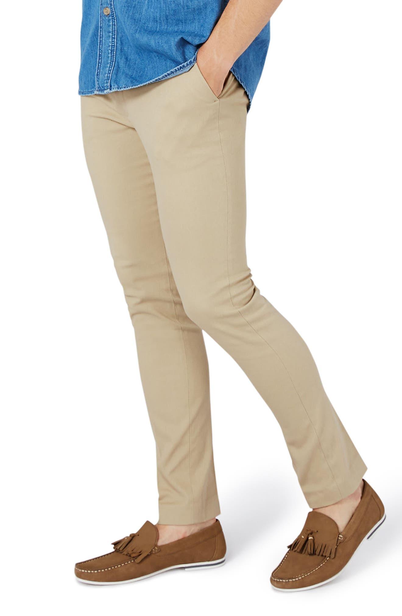 Topman Ultra Skinny Fit Twill Trousers