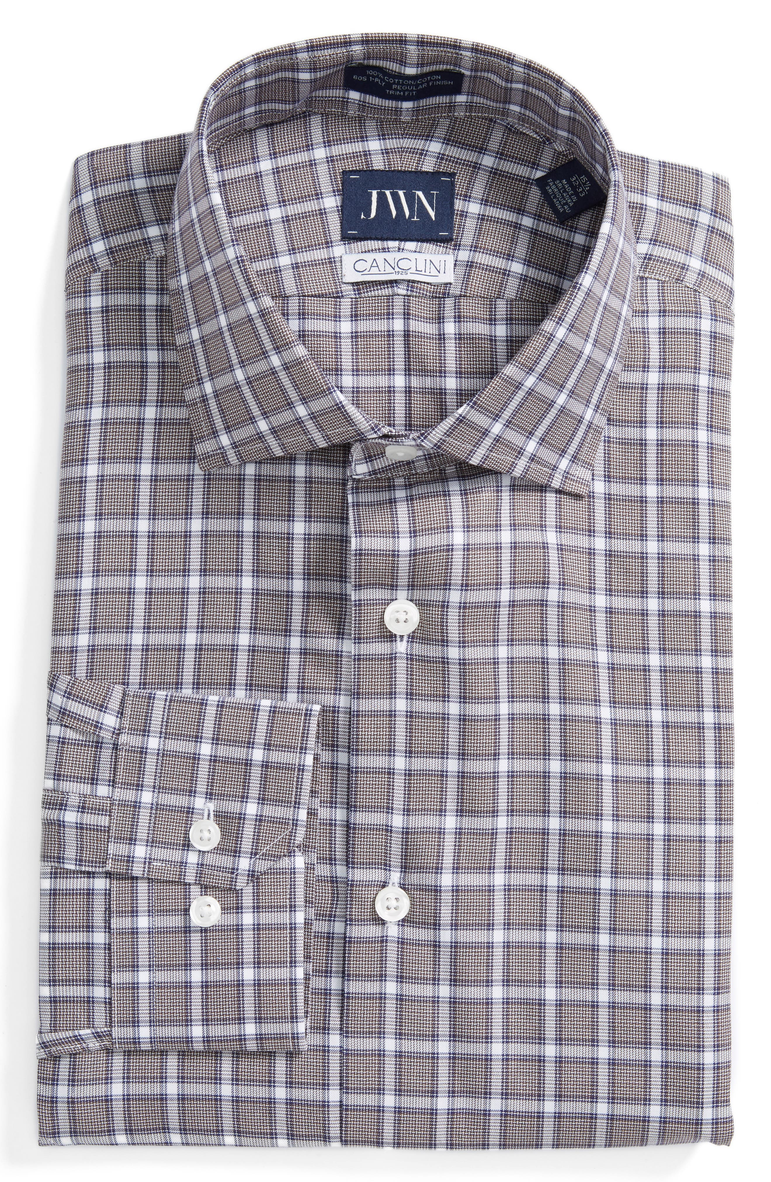 John W. Nordstrom® Trim Fit Plaid Dress Shirt