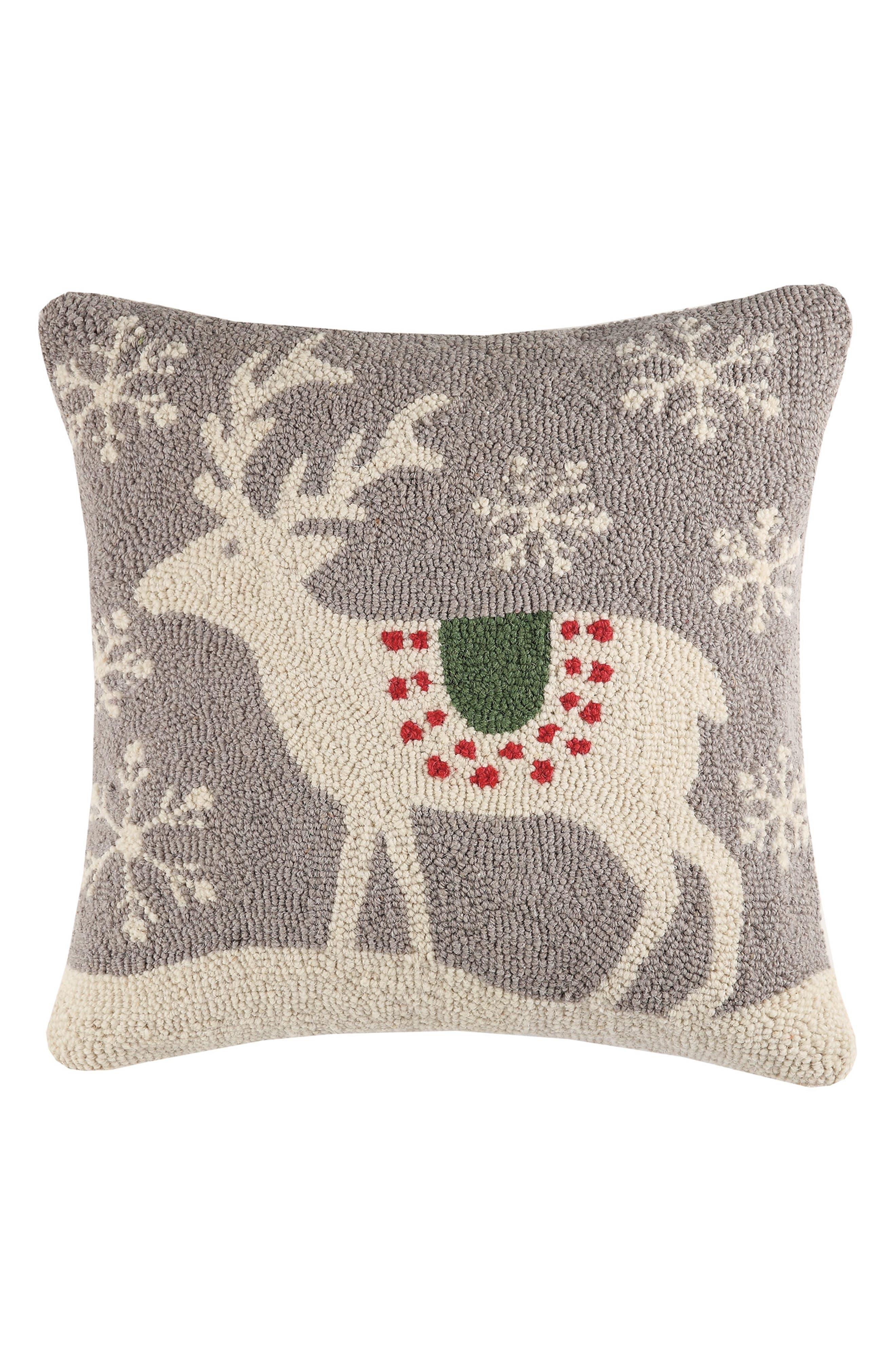 Scandinavian Reindeer Hooked Accent Pillow,                         Main,                         color, Grey