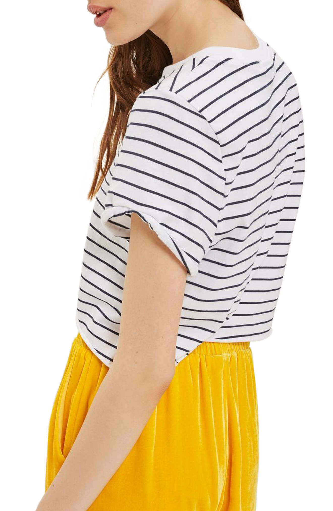 Crop Stripe Tee,                             Alternate thumbnail 6, color,                             Navy Blue Multi