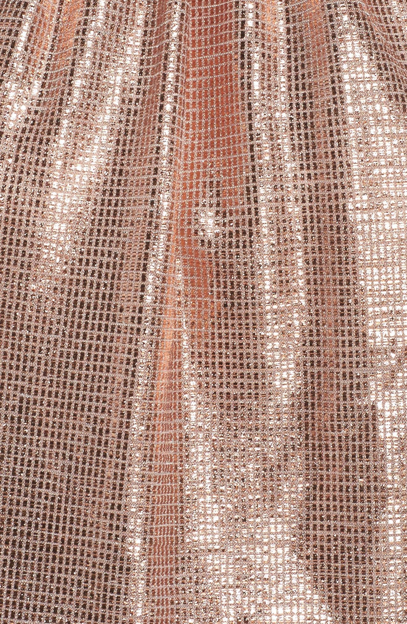 Metallic Halter Jumpsuit,                             Alternate thumbnail 5, color,                             Rose Gold