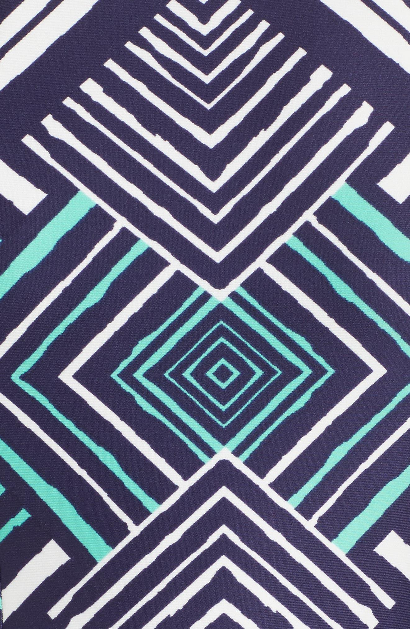 Fit & Flare Dress,                             Alternate thumbnail 5, color,                             Navy/ Multi