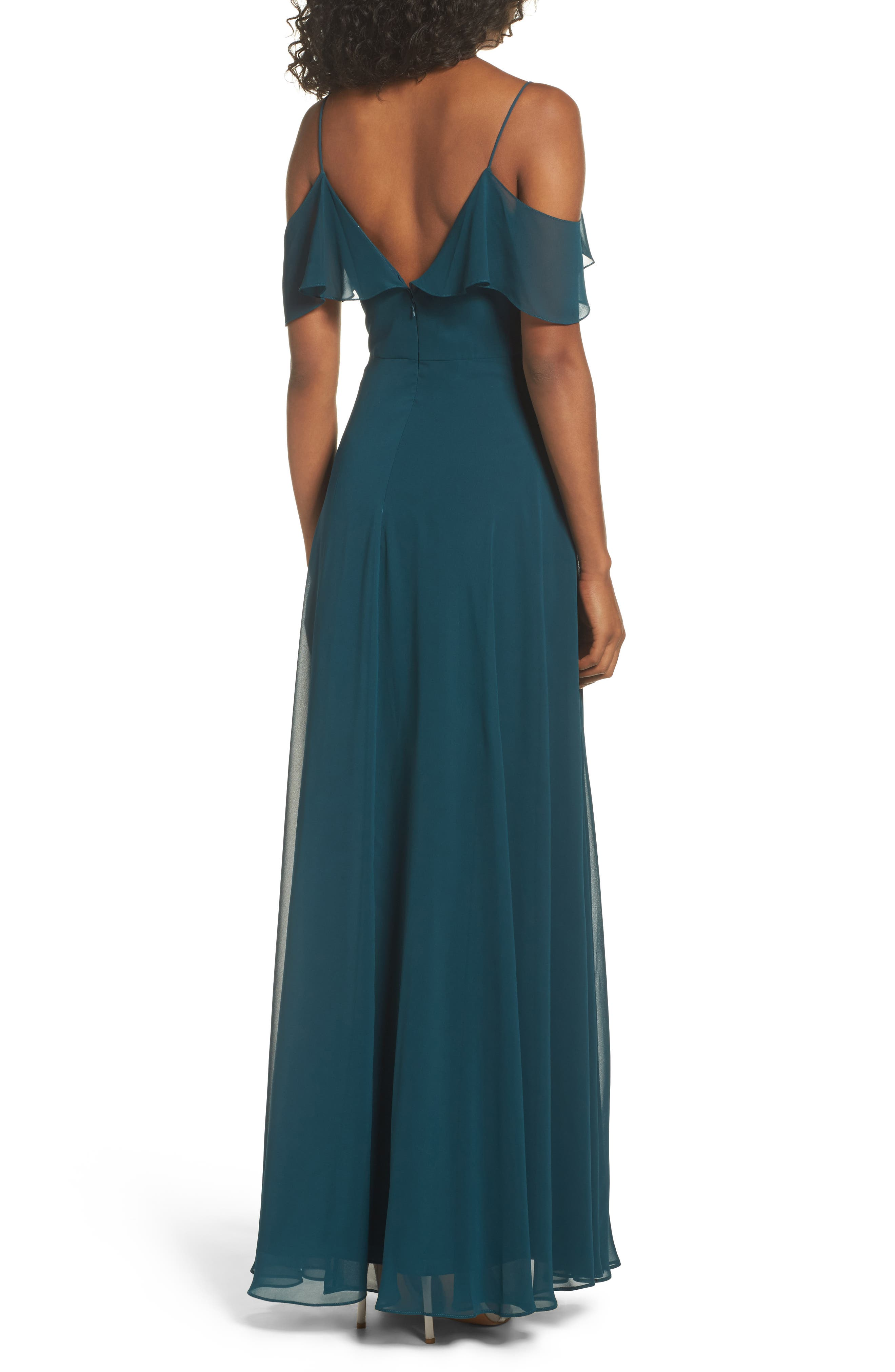 Alternate Image 2  - Jenny Yoo Cold Shoulder Chiffon Gown