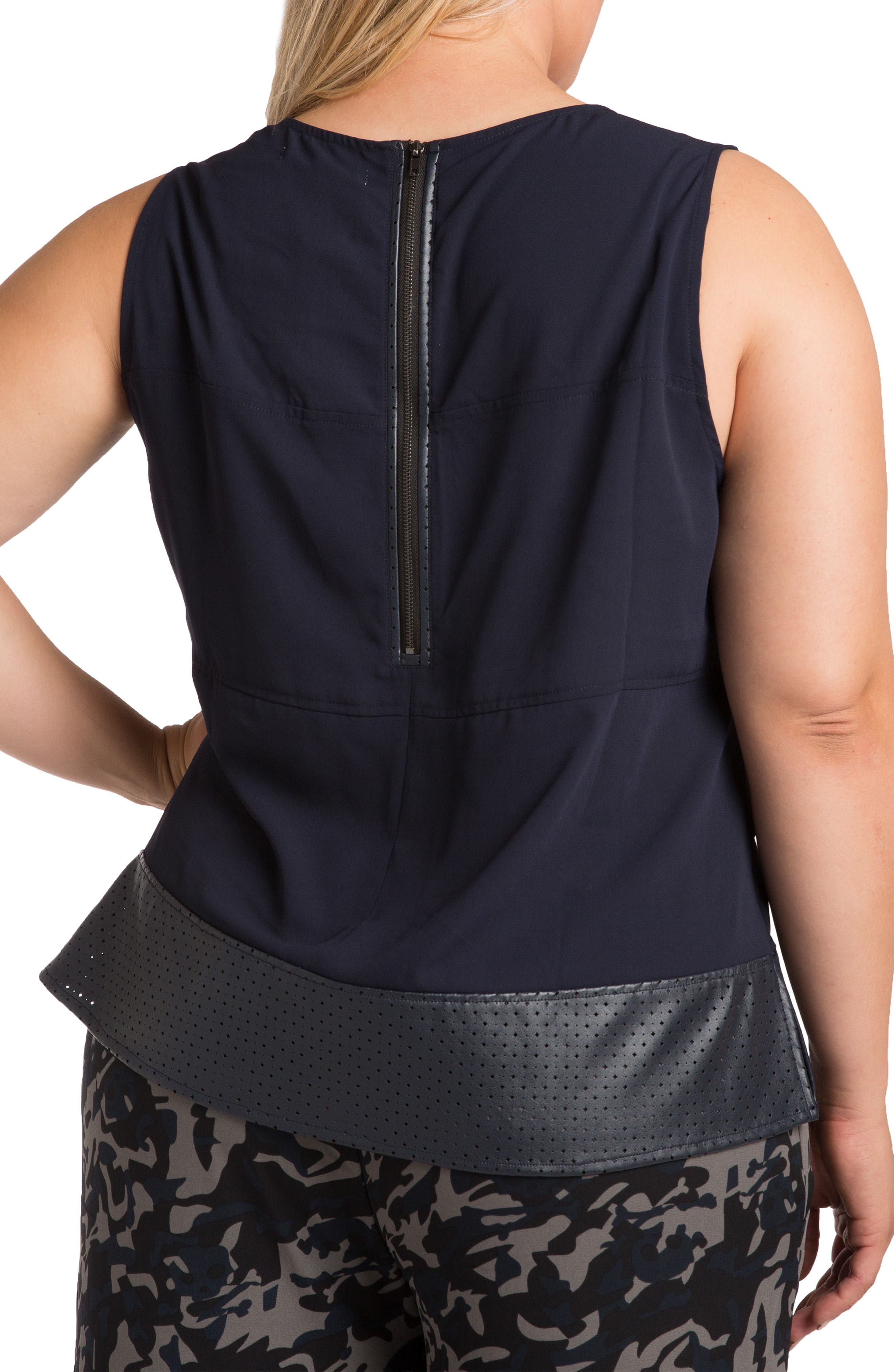 Blake Faux Leather Trim Top,                             Alternate thumbnail 3, color,                             Midnight Blue