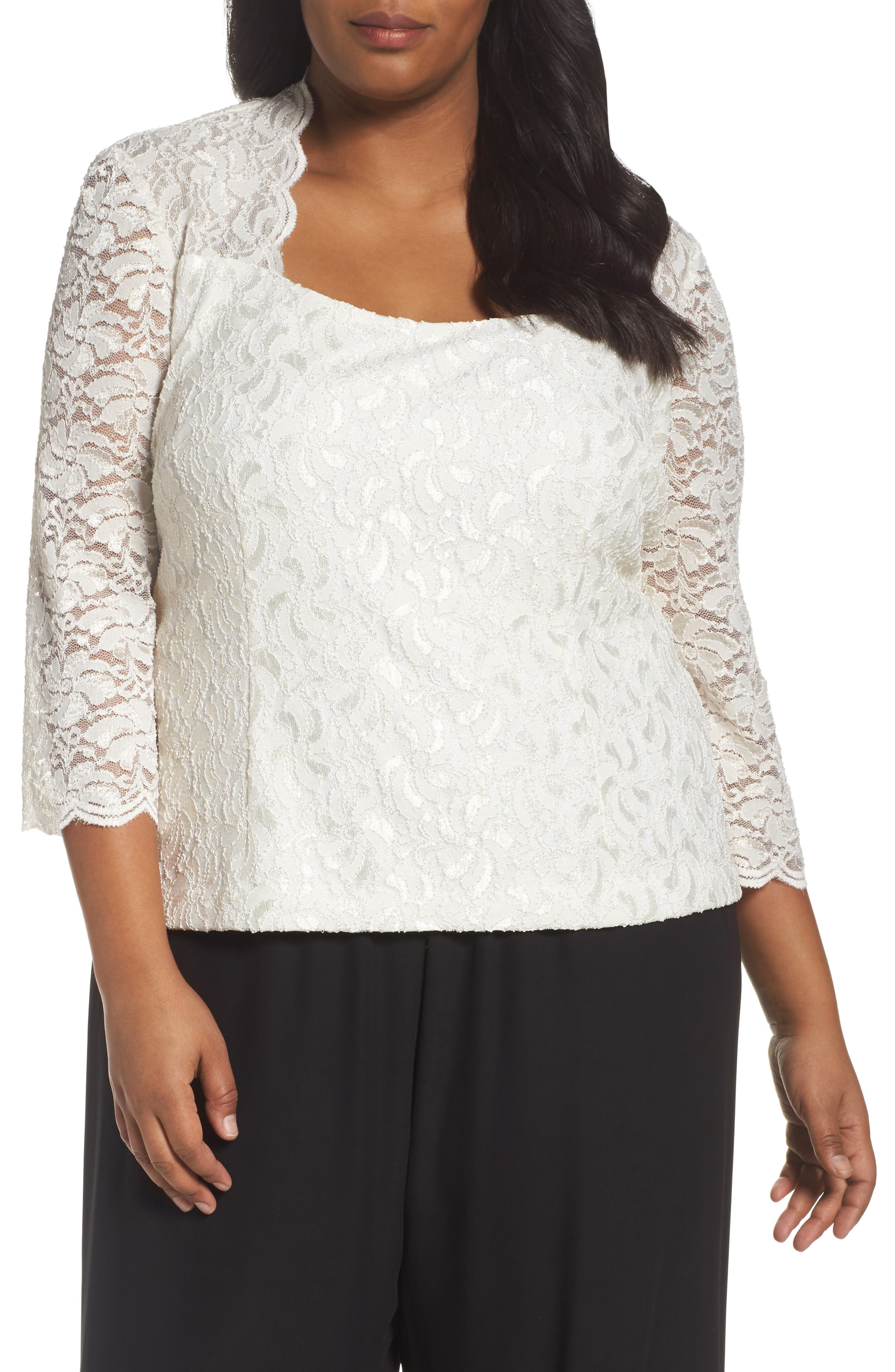 Scallop Neck Lace Blouse,                         Main,                         color, Ivory/ Gold