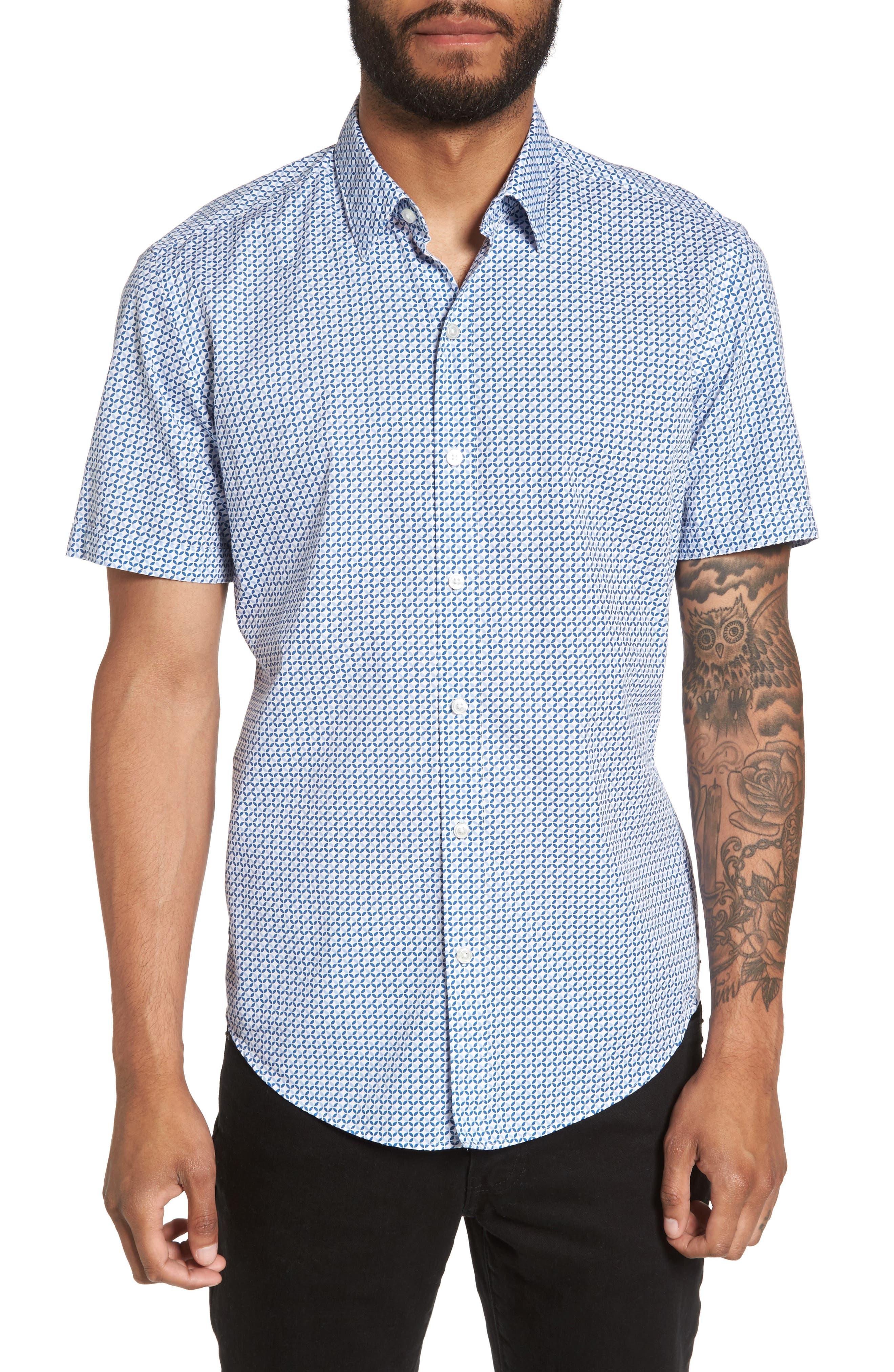 Alternate Image 1 Selected - BOSS Robbie Trim Fit Print Sport Shirt