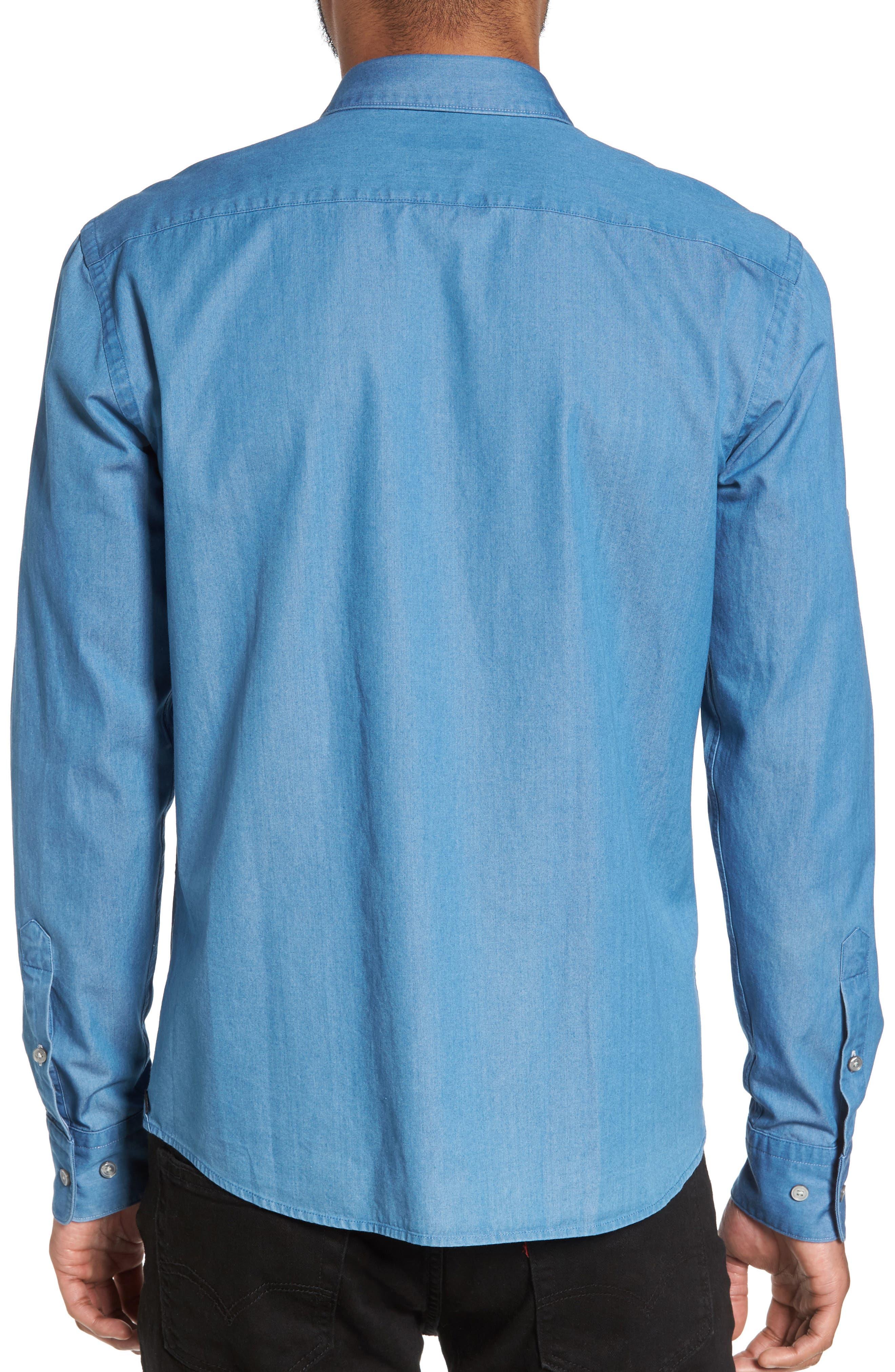Reid Denim Sport Shirt,                             Alternate thumbnail 2, color,                             Blue