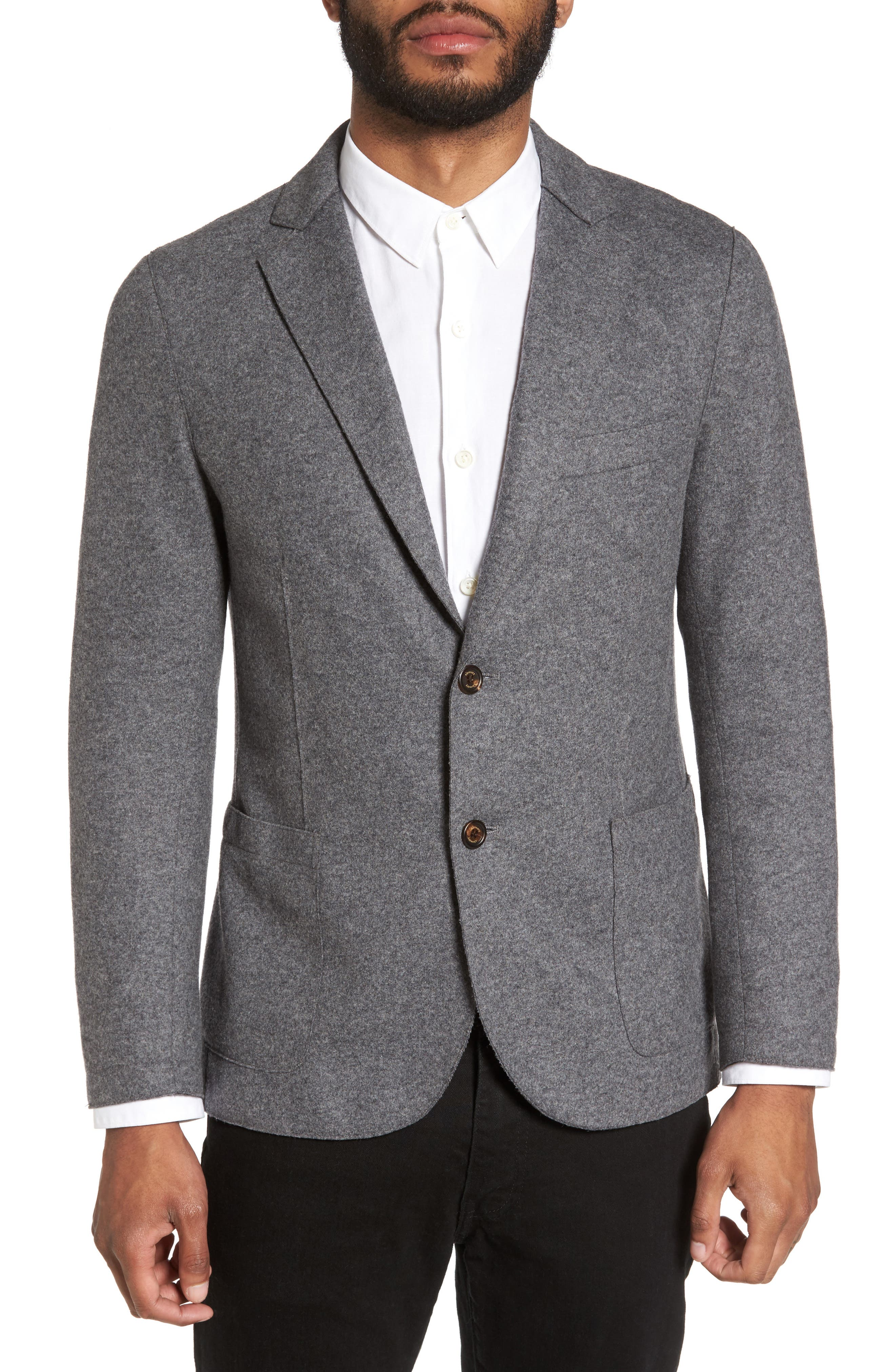 Wool Blend Blazer,                             Main thumbnail 1, color,                             Smoke Grey Melange