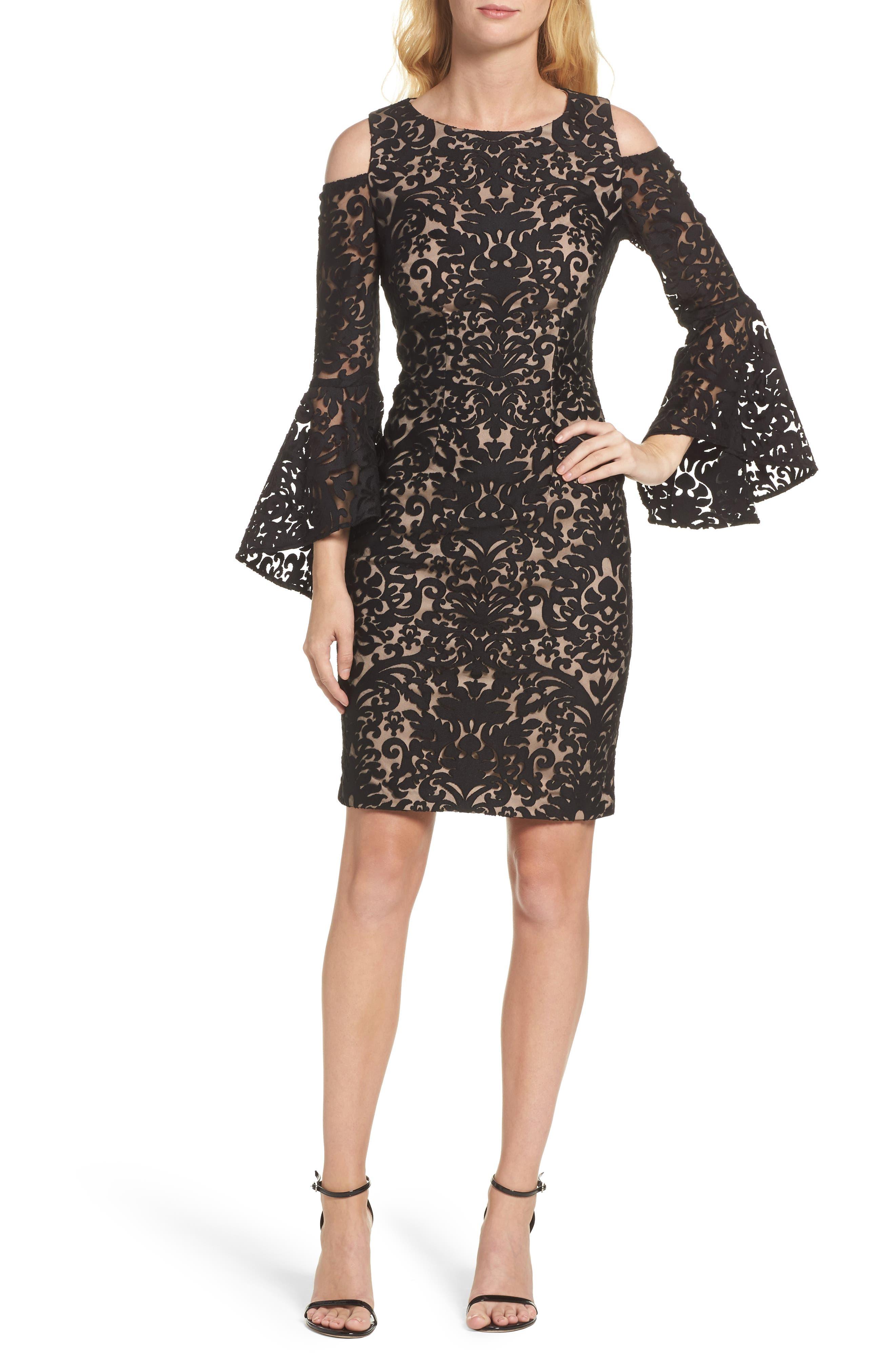 Flocked Cold Shoulder Sheath Dress,                         Main,                         color, Black/ Nude