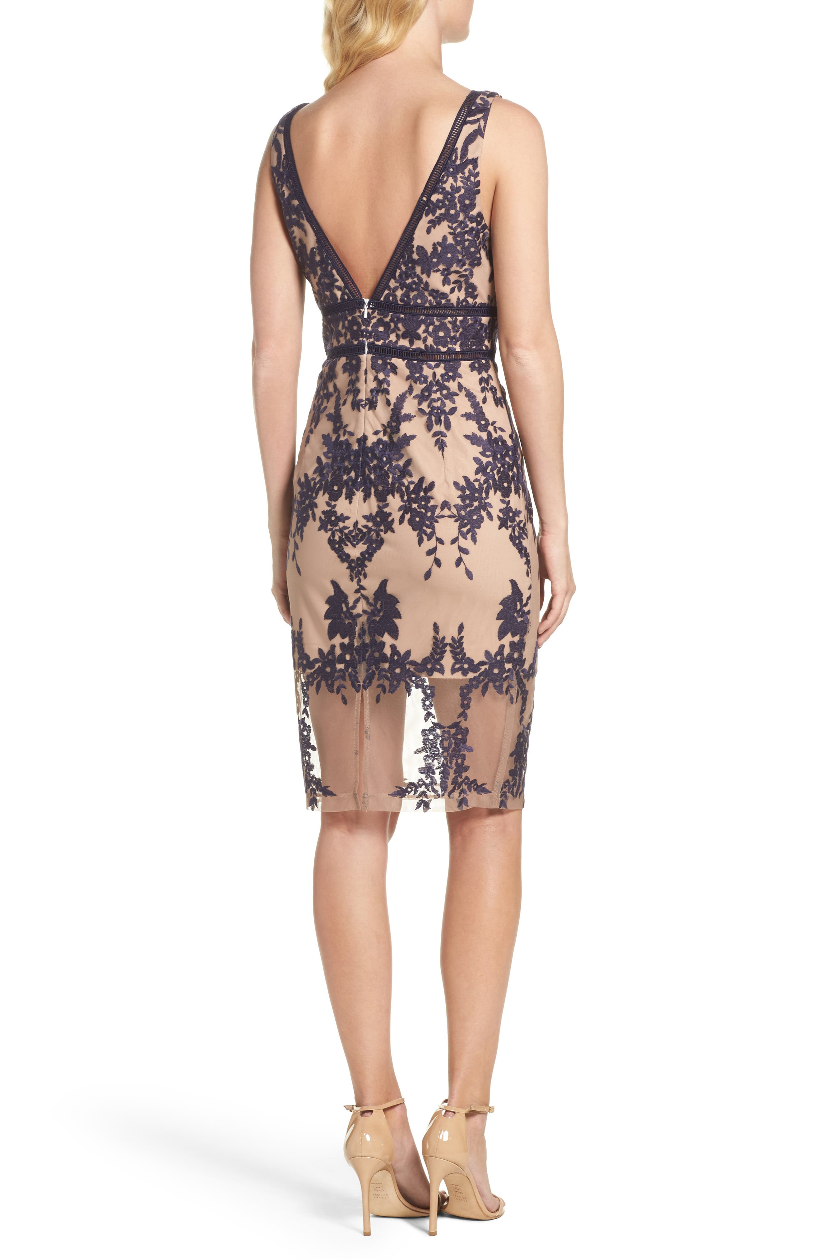 Flora Embroidered Sheath Dress,                             Alternate thumbnail 2, color,                             French Navy