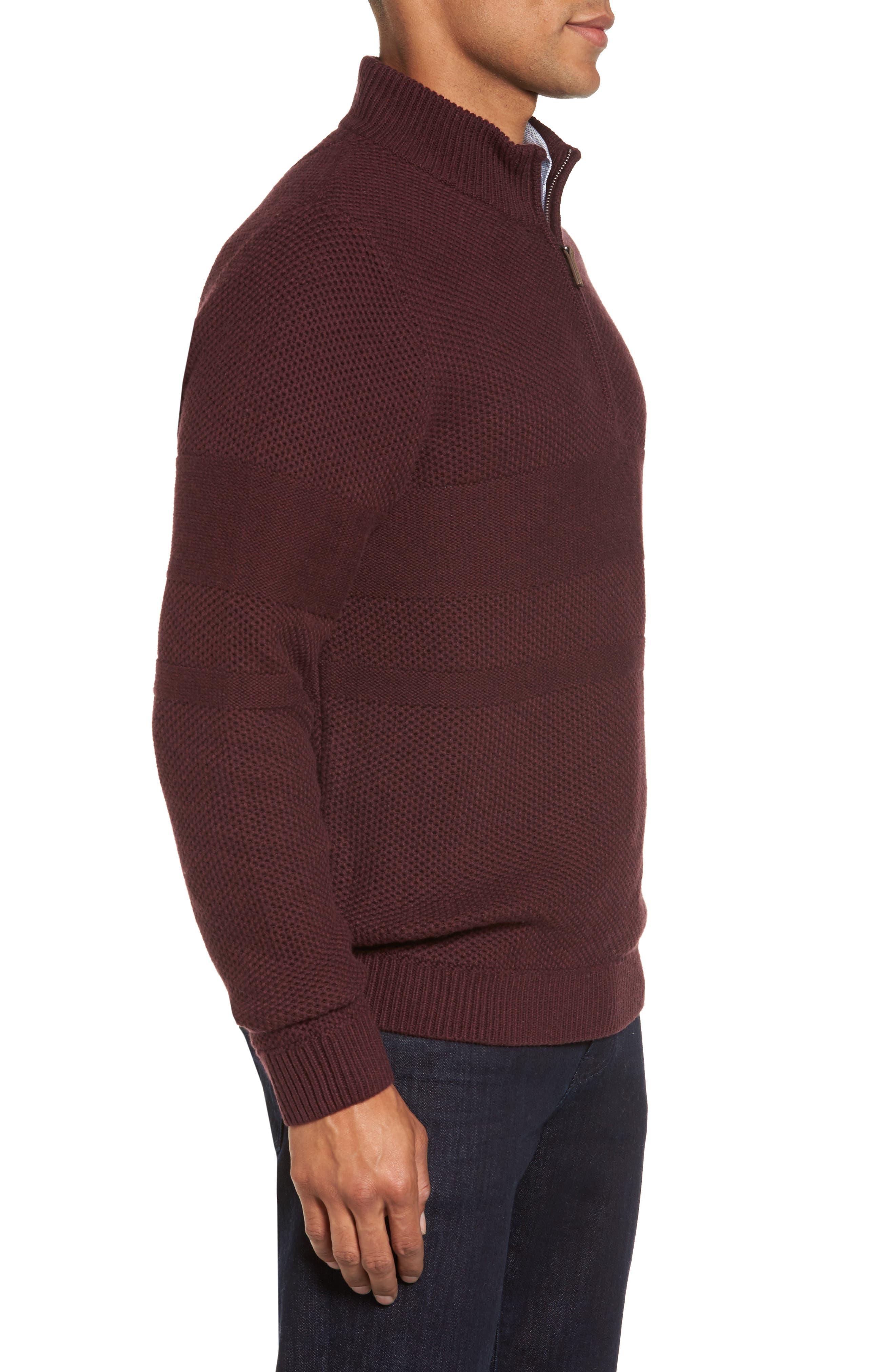 Alternate Image 3  - Nordstrom Men's Shop Texture Cotton & Cashmere Quarter Zip Sweater (Regular & Tall)